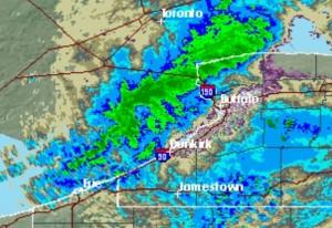 9:21 p.m., Nov. 14, 2014. (NWS radar)