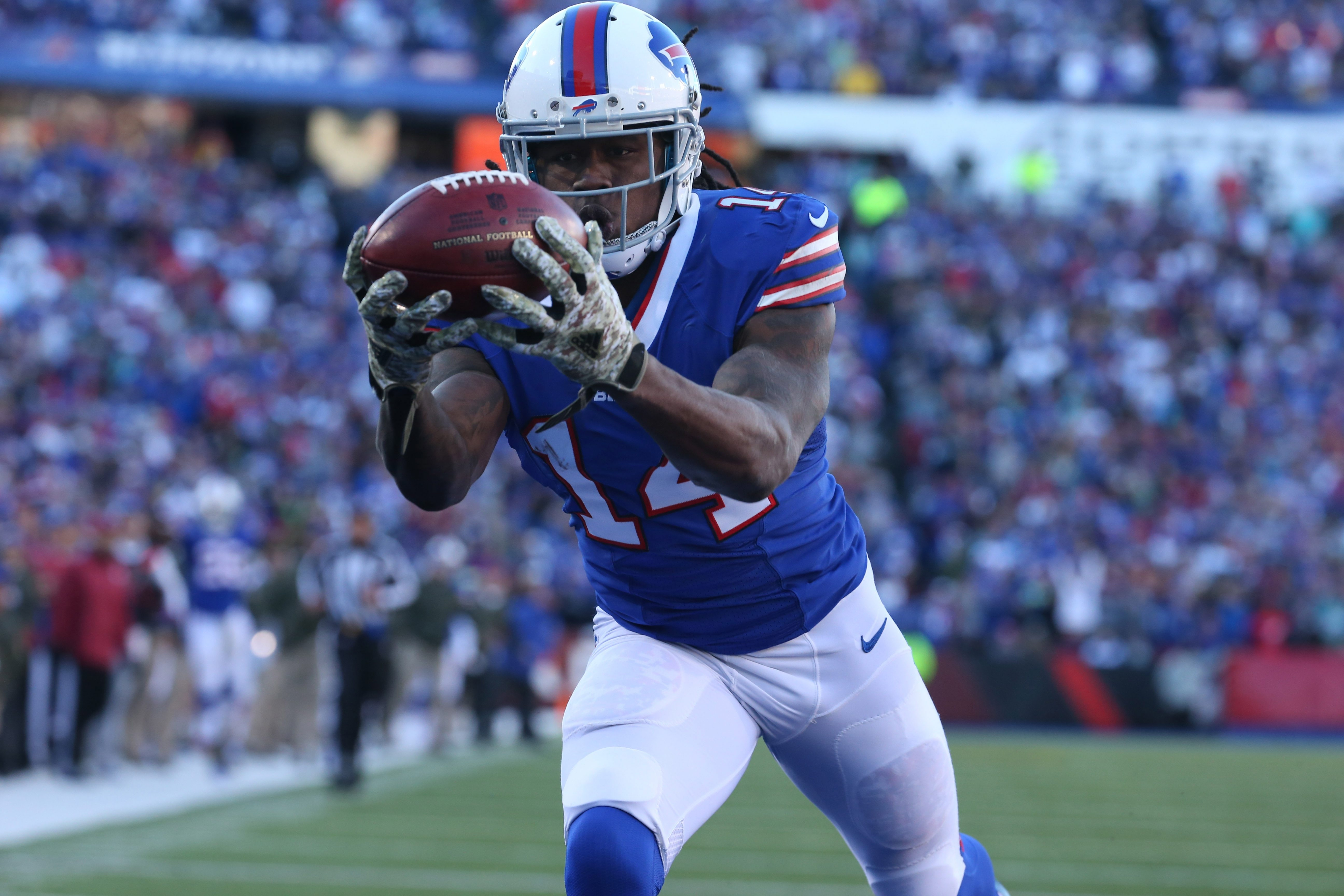 Bills wide receiver Sammy Watkins pulls in a 44-yard touchdown pass from quarterback Tyrod Taylor in the third quarter on Sunday. Watkins finished with eight  catches for a career-high 168 yards.