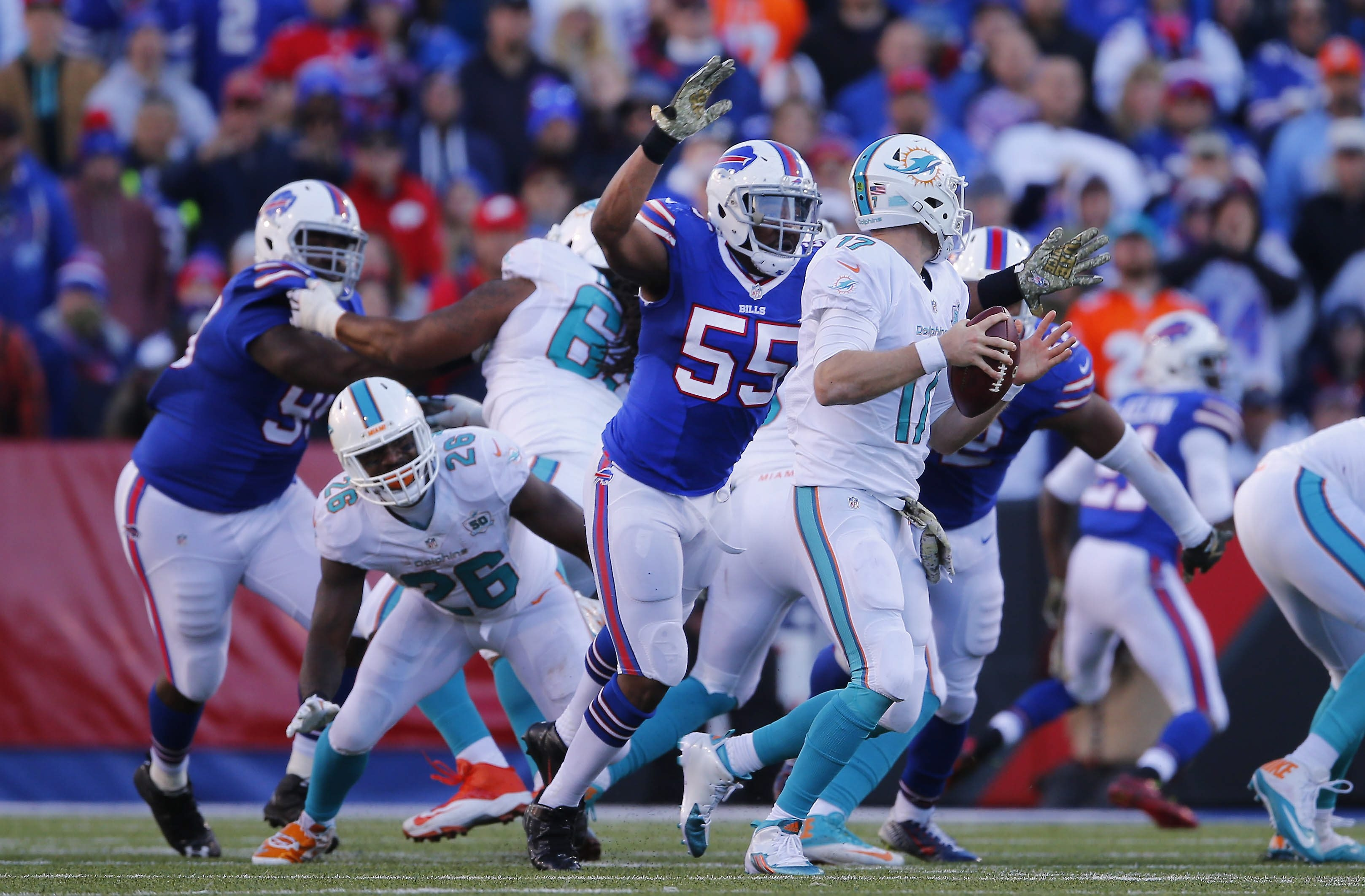 Back in his natural defensive end position, Jerry Hughes believes he can top his career-high sack total of 10. (Buffalo News file photo)