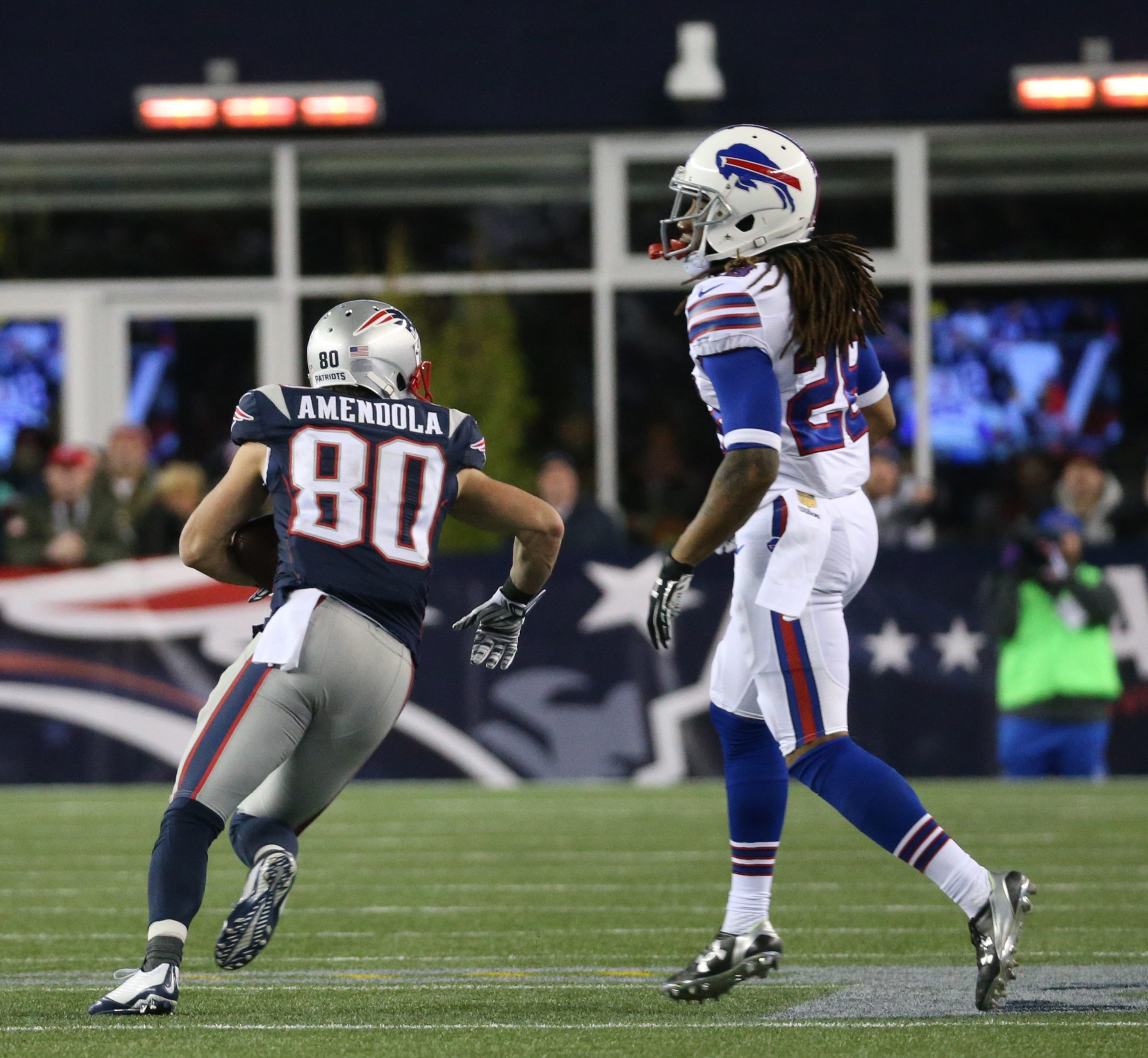 Danny Amendola catches a pass but the play was blown dead early in the third quarter. Yet the Bills may have been fortunate on the play.