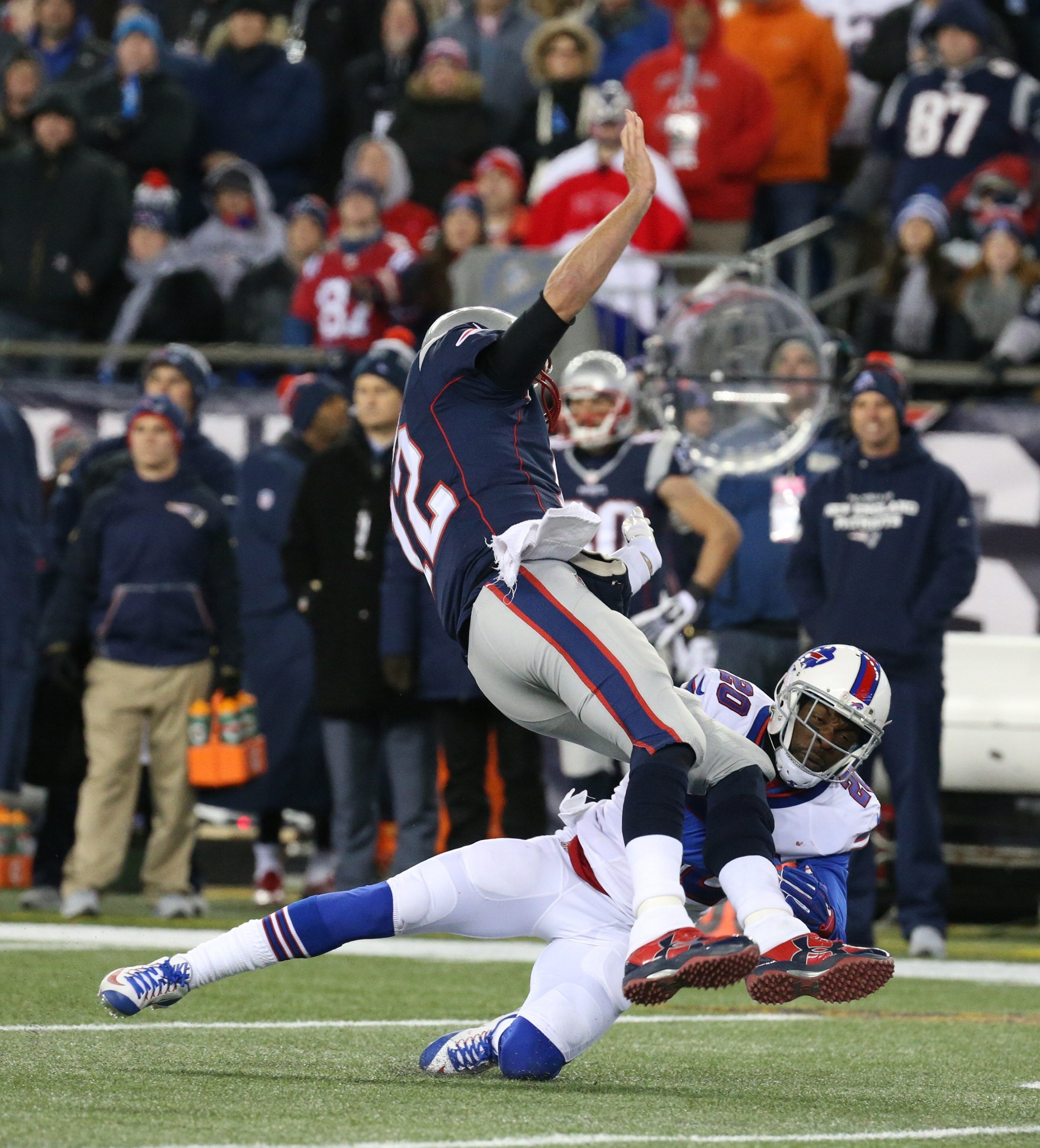 New England quarterback Tom Brady is hit by Buffalo's Corey Graham after throwing a pass in the second quarter Monday. The Bills kept the pressure coming on Brady throughout the game.