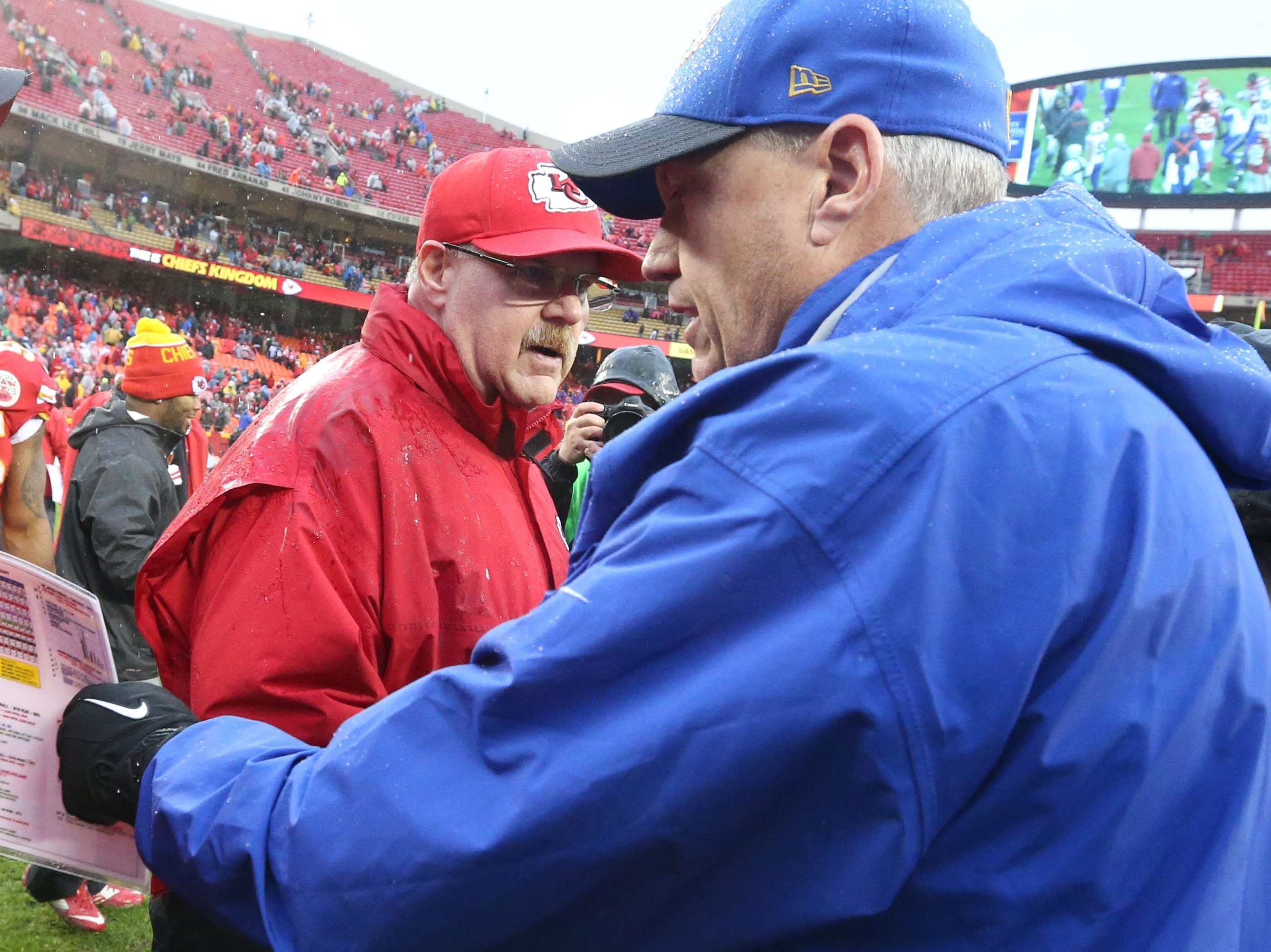 Buffalo Bills head coach Rex Ryan and Kansas City Chiefs head coach Andy Reid shake hands after the game at Arrowhead Stadium in Kansas City, Mo. on Sunday, Nov. 29, 2015.  (James P. McCoy/ Buffalo News)