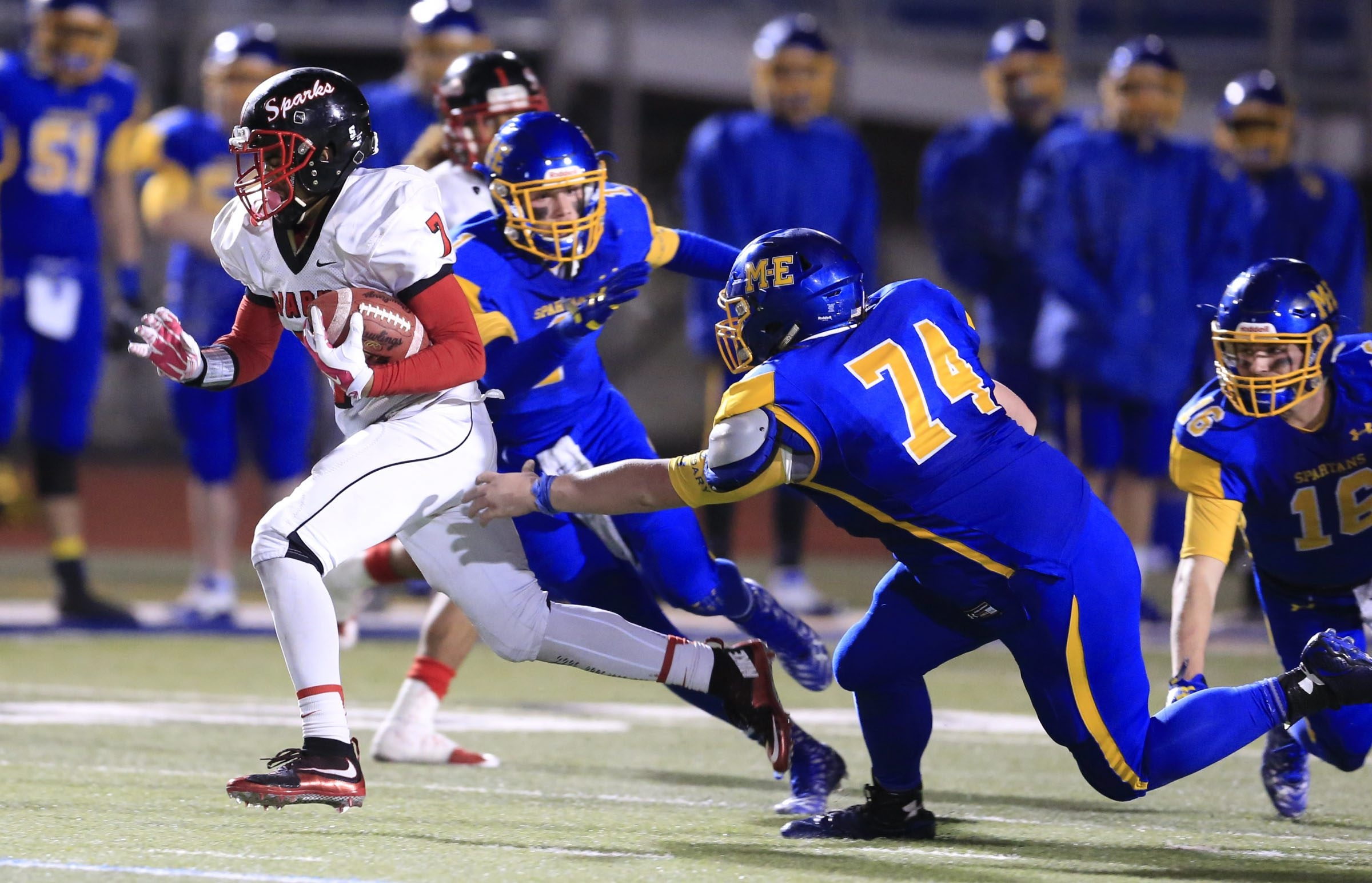 South Park quarterback Tyree Brown was the key figure in the Sparks' historic win over Maine-Endwell in the semifinals of the state playoffs.