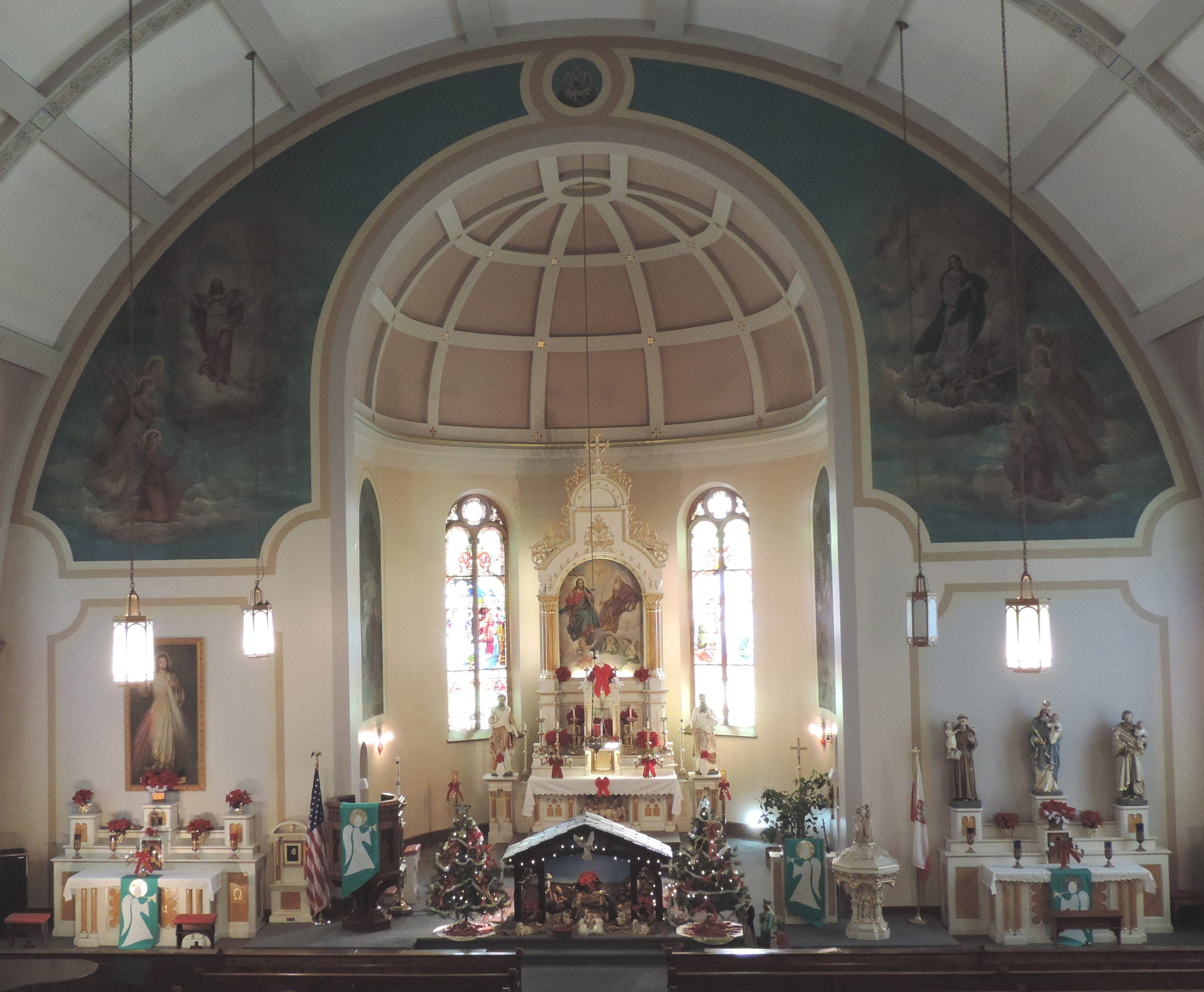 Historic Holy Trinity Church is decorated for Christmas, displaying several Christmas pieces that date back to the early 1900s.