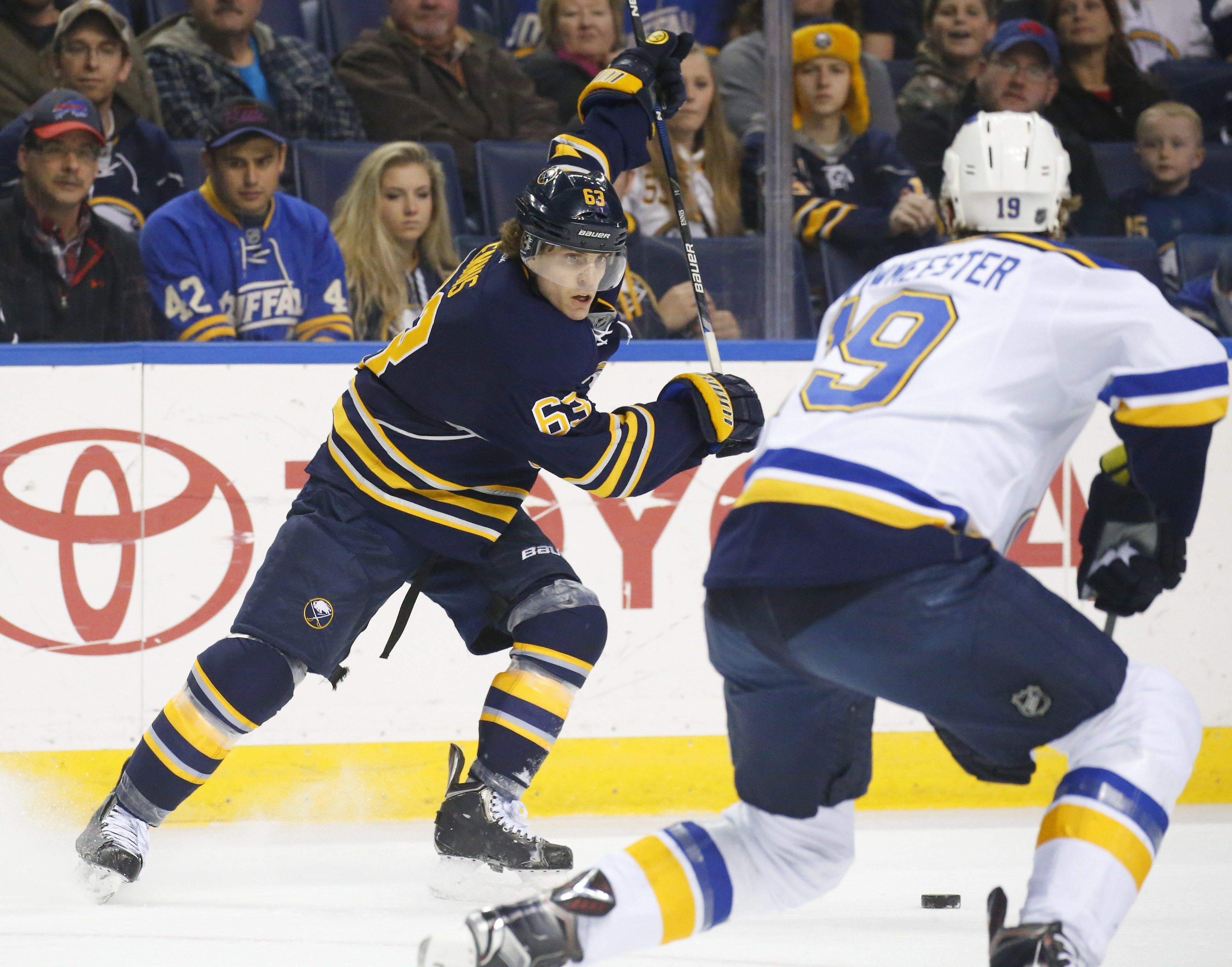 The Sabres' Tyler Ennis looks to fire a shot in the first period. (Mark Mulville/Buffalo News)