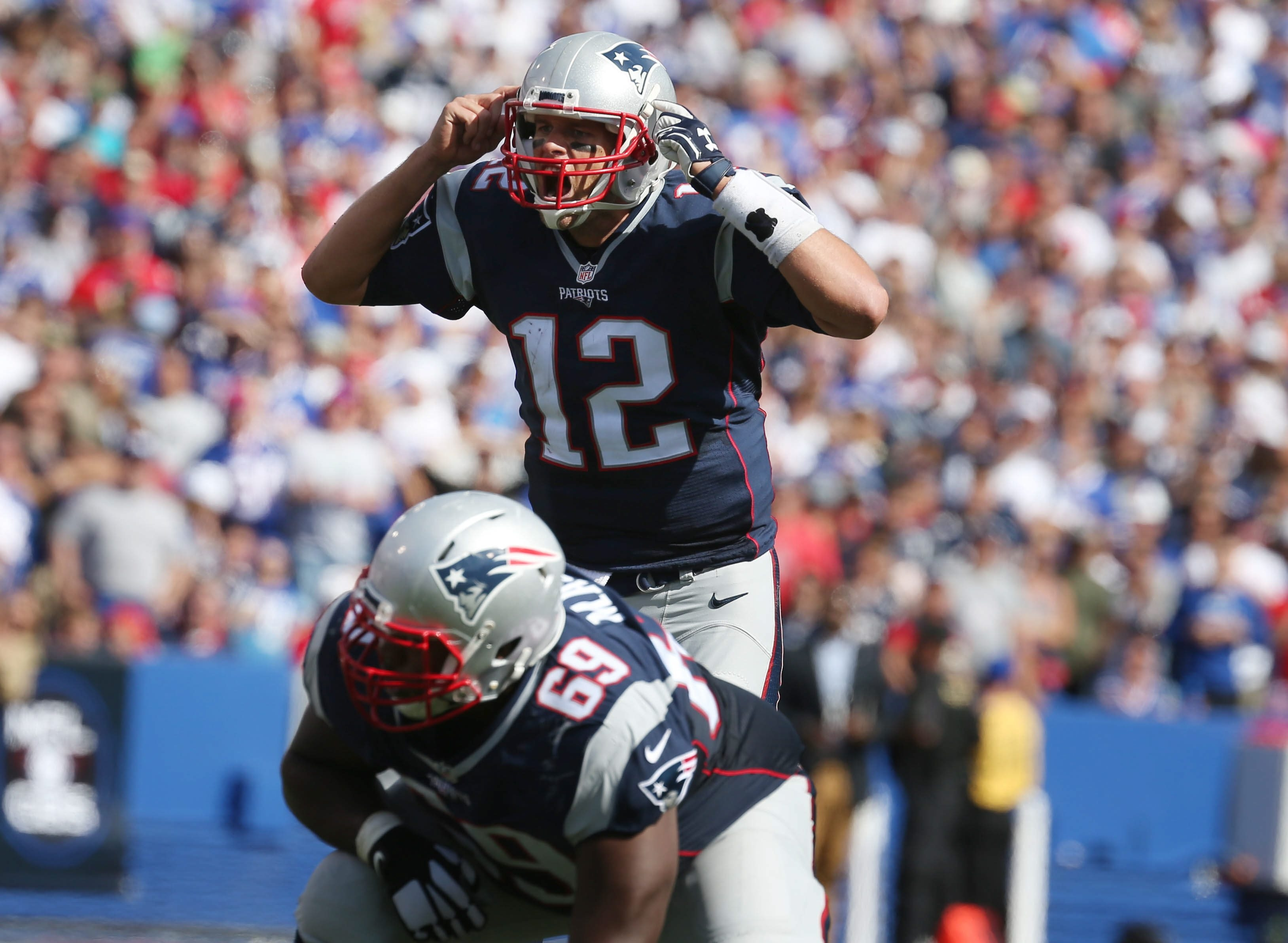 Patriots quarterback Tom Brady had some trouble hearing amid the din of Ralph Wilson Stadium on Sept. 20, but it didn't keep him from shredding the Bills for 466 yards and three touchdowns. (James P. McCoy/Buffalo News)