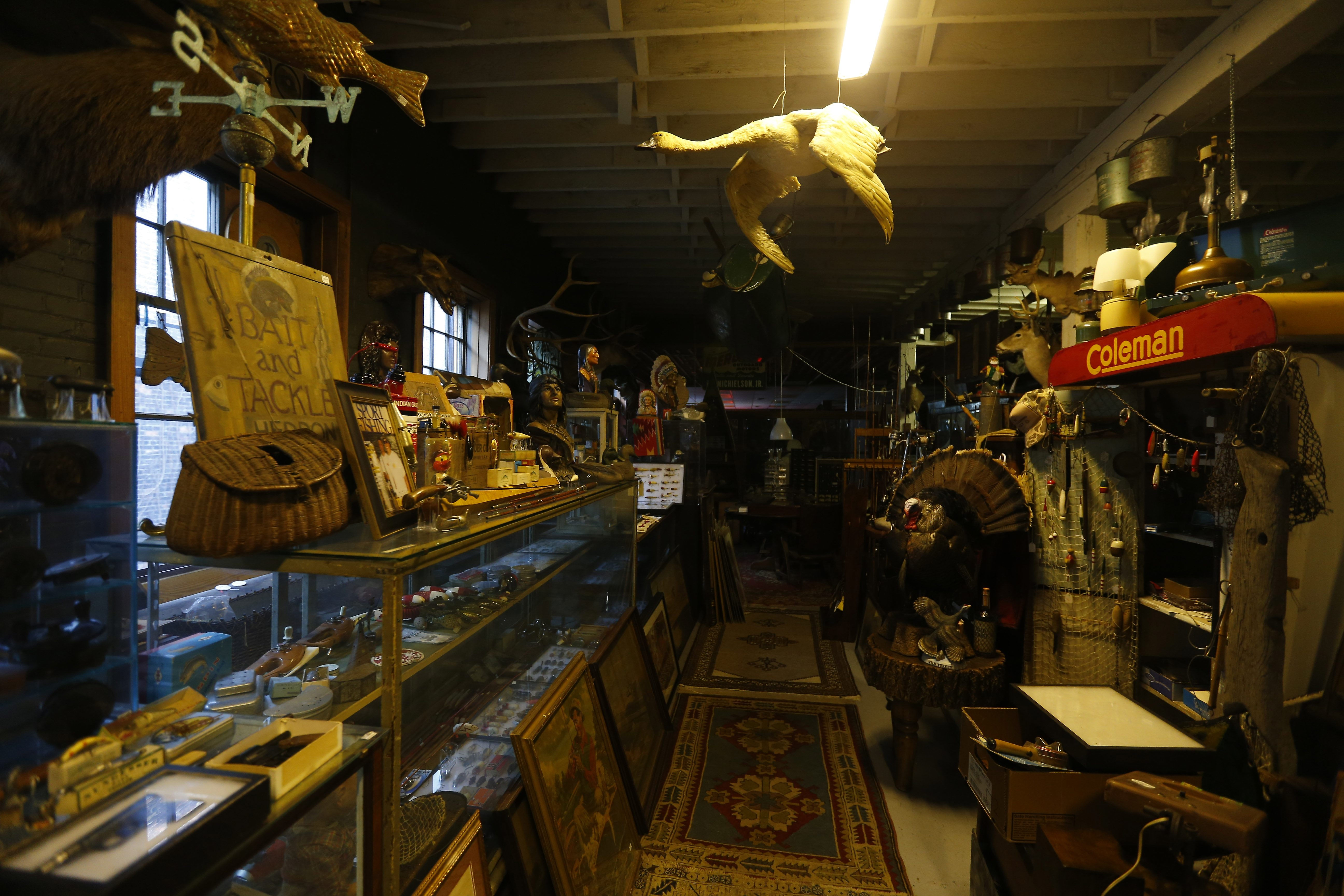 Some of the items offered at Horsefeathers Architectural Antiques and Hollwood Hank's in Buffalo. (Mark Mulville/Buffalo News)