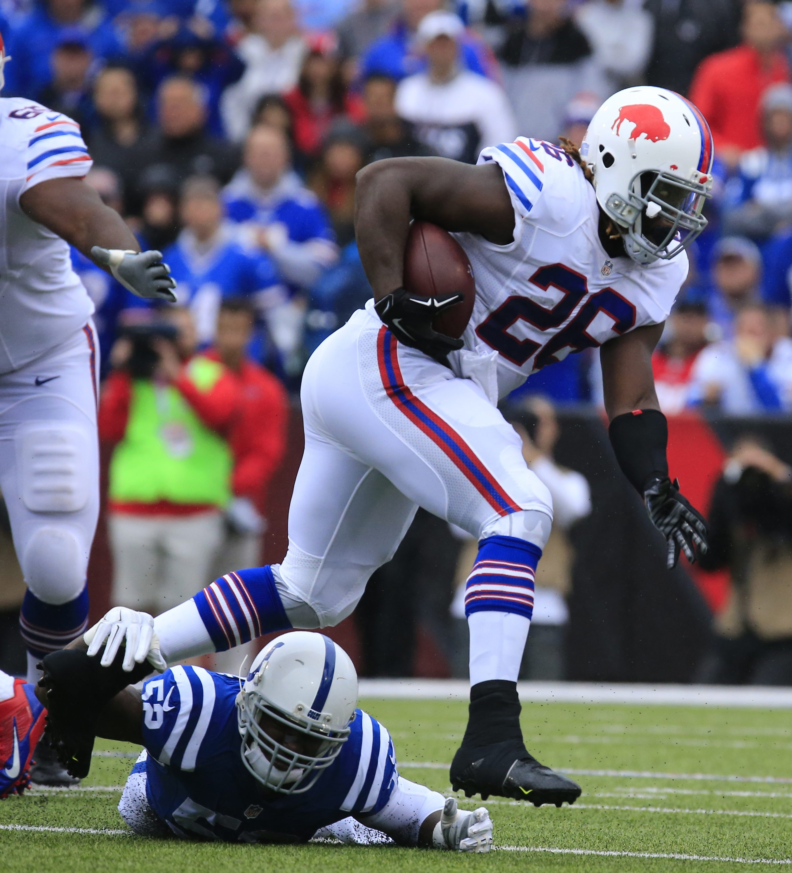 Buffalo Bills Boobie Dixon runs against the Indianapolis Colts during the second quarter at Ralph Wilson Stadium on Sunday, Sept. 13, 2015.  (Harry Scull Jr./Buffalo News)