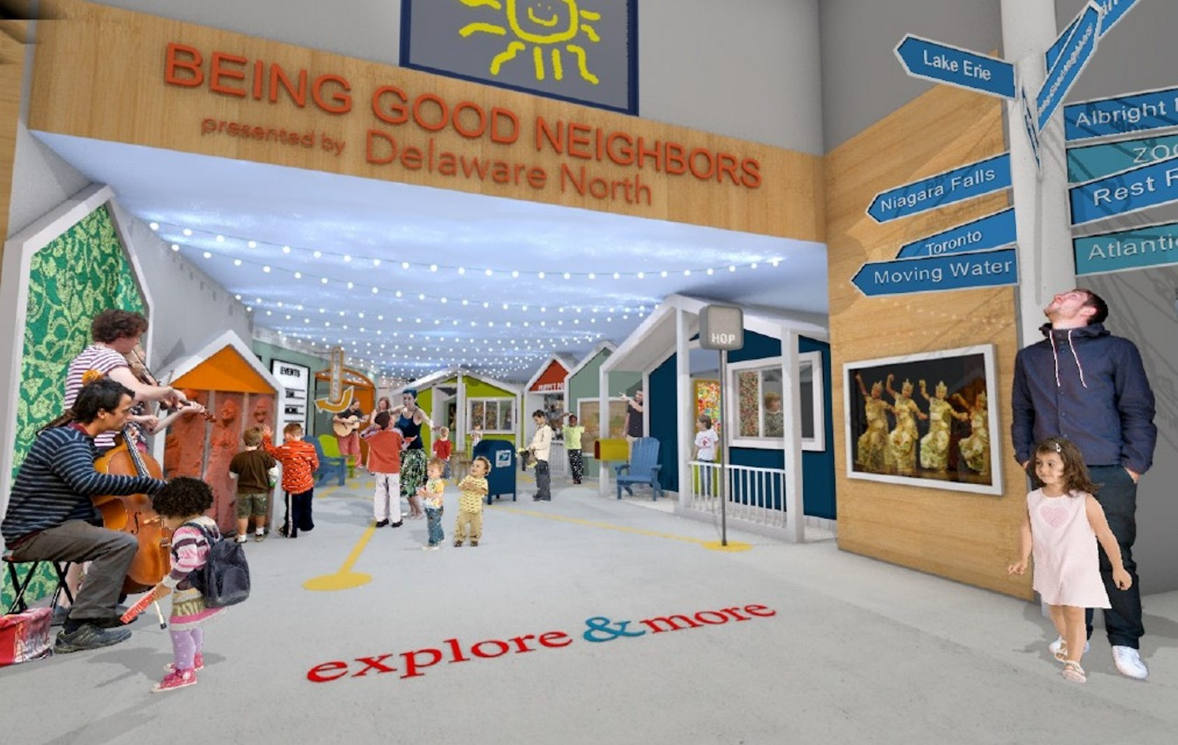 An artist's rendering of the proposed Explore & More Children's Museum's Being Good Neighbors play zone, sponsored by Delaware North with a $1 million donation. The museum is expected to open in Canalside in 2018.