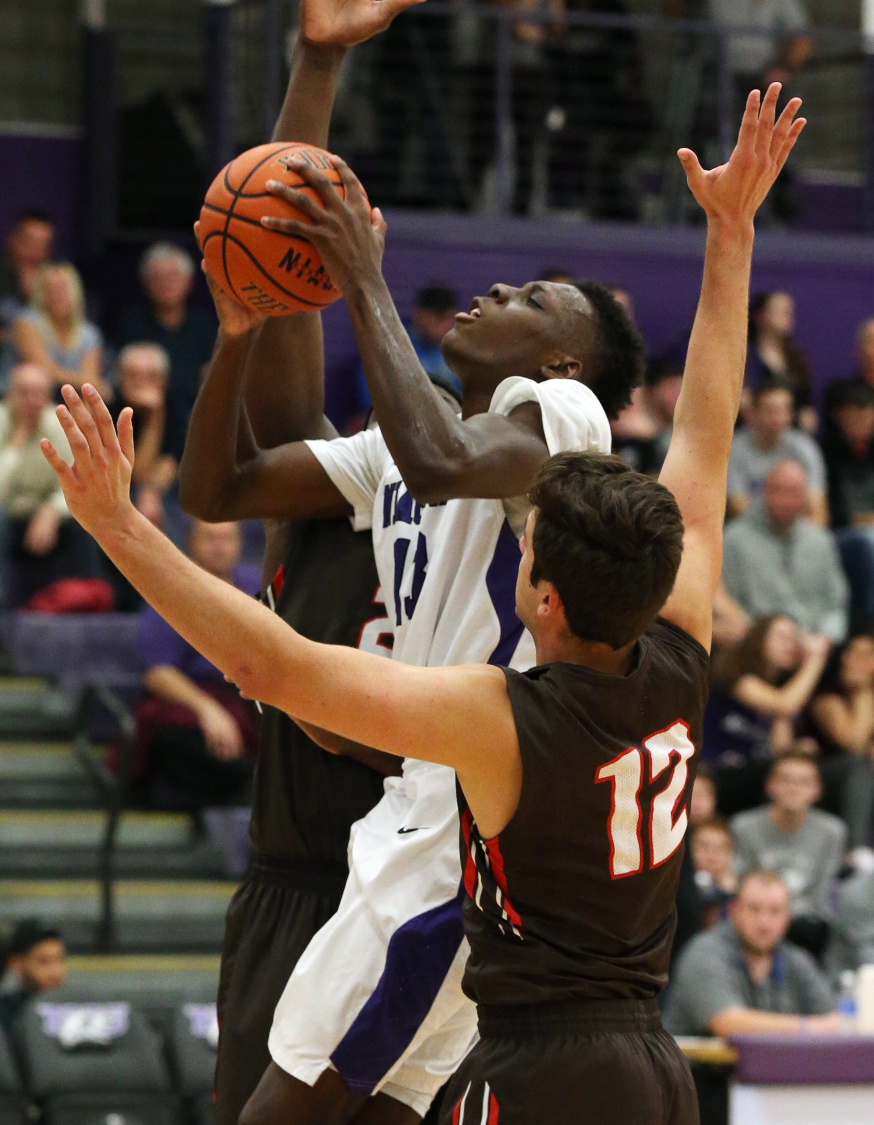 Matt Scott drives to the basket against Brown's JR Hobbie in the first half during their game at the Gallagher Center on Wednesday. The Purple Eagles won, 75-66.
