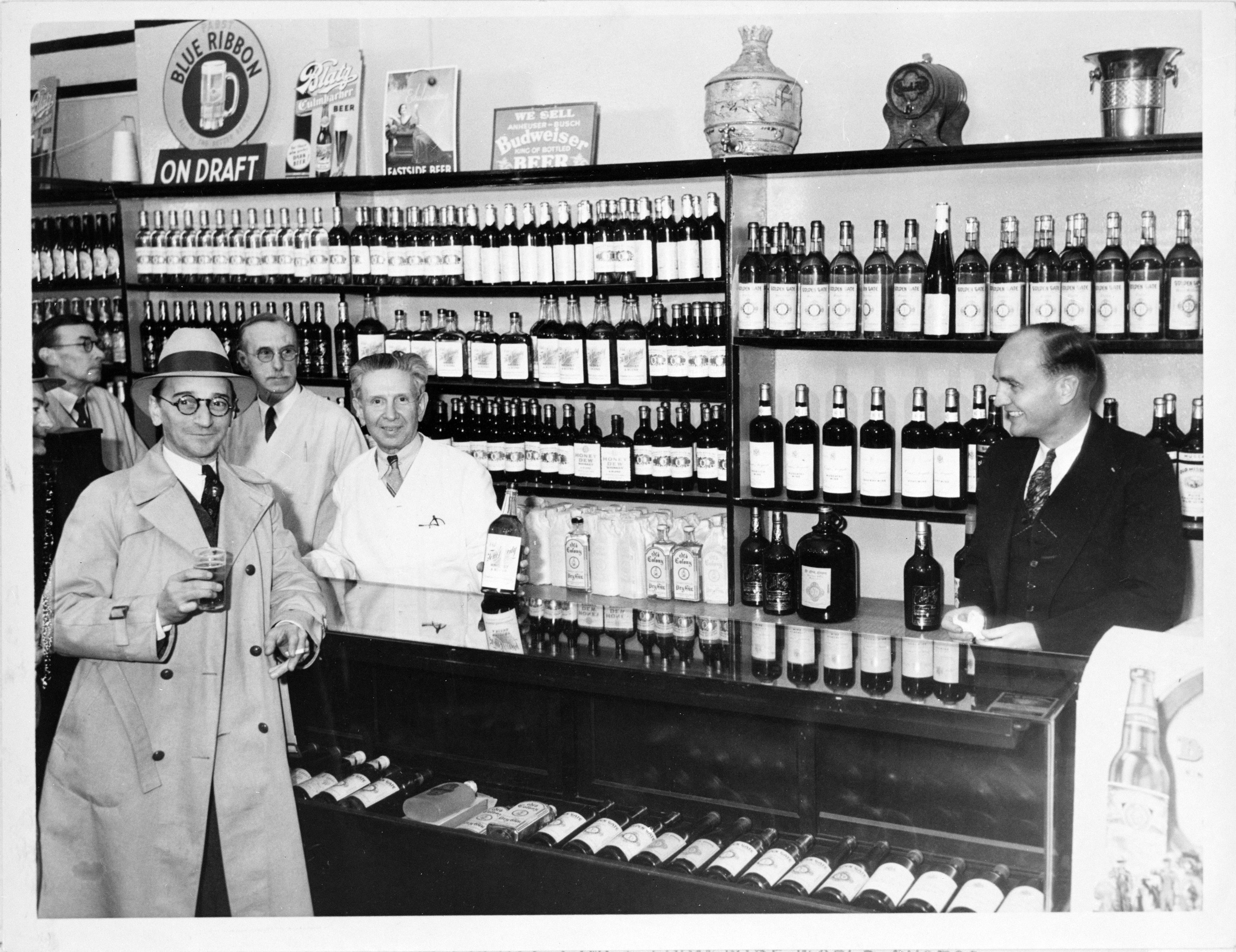 A well-stocked Los Angeles store awaits the repeal of Prohibition in December 1933.