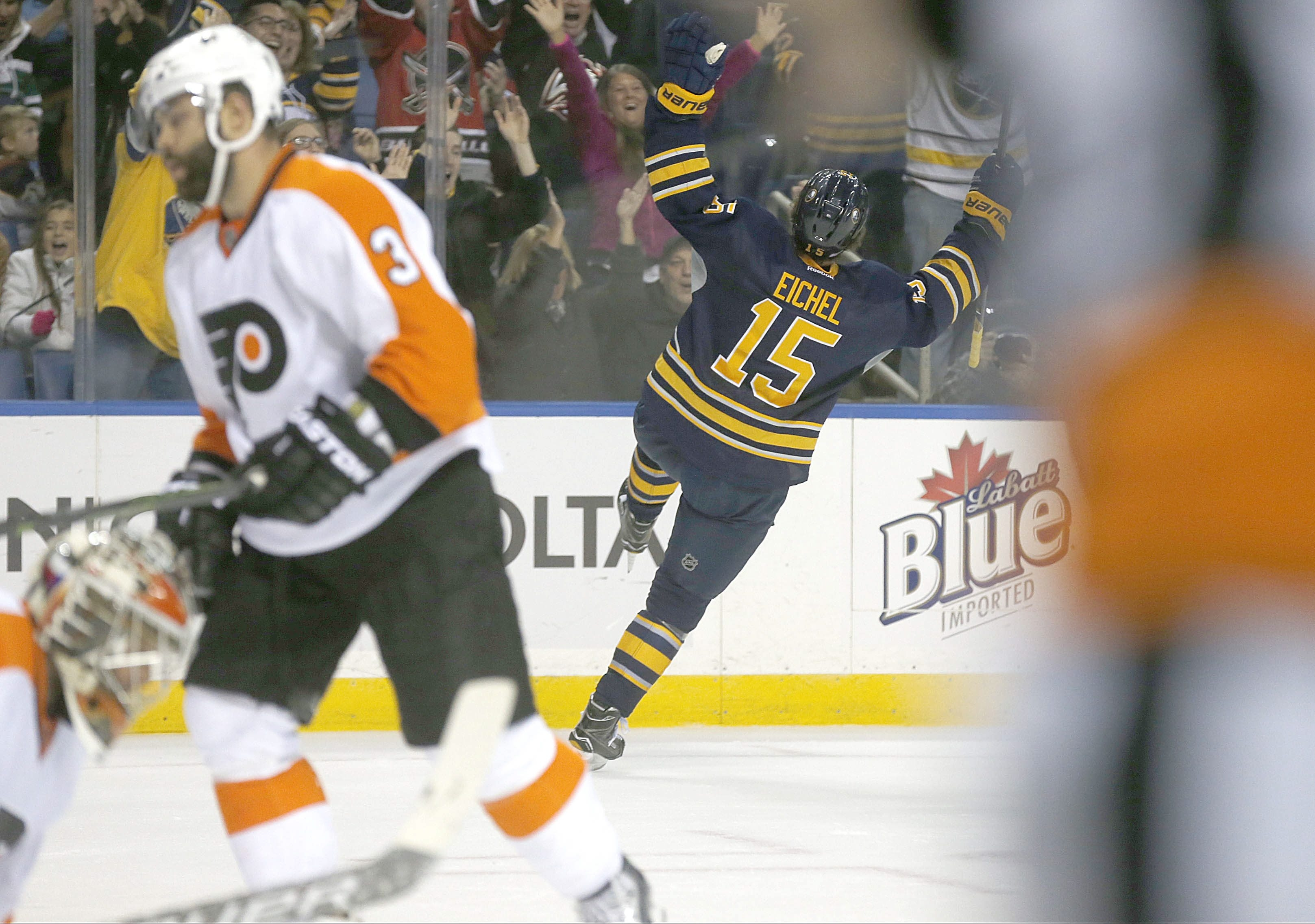 Jack Eichel goes into full celebration mode after beating Flyers goalie Michal Neuvirth for a goal in the first period.