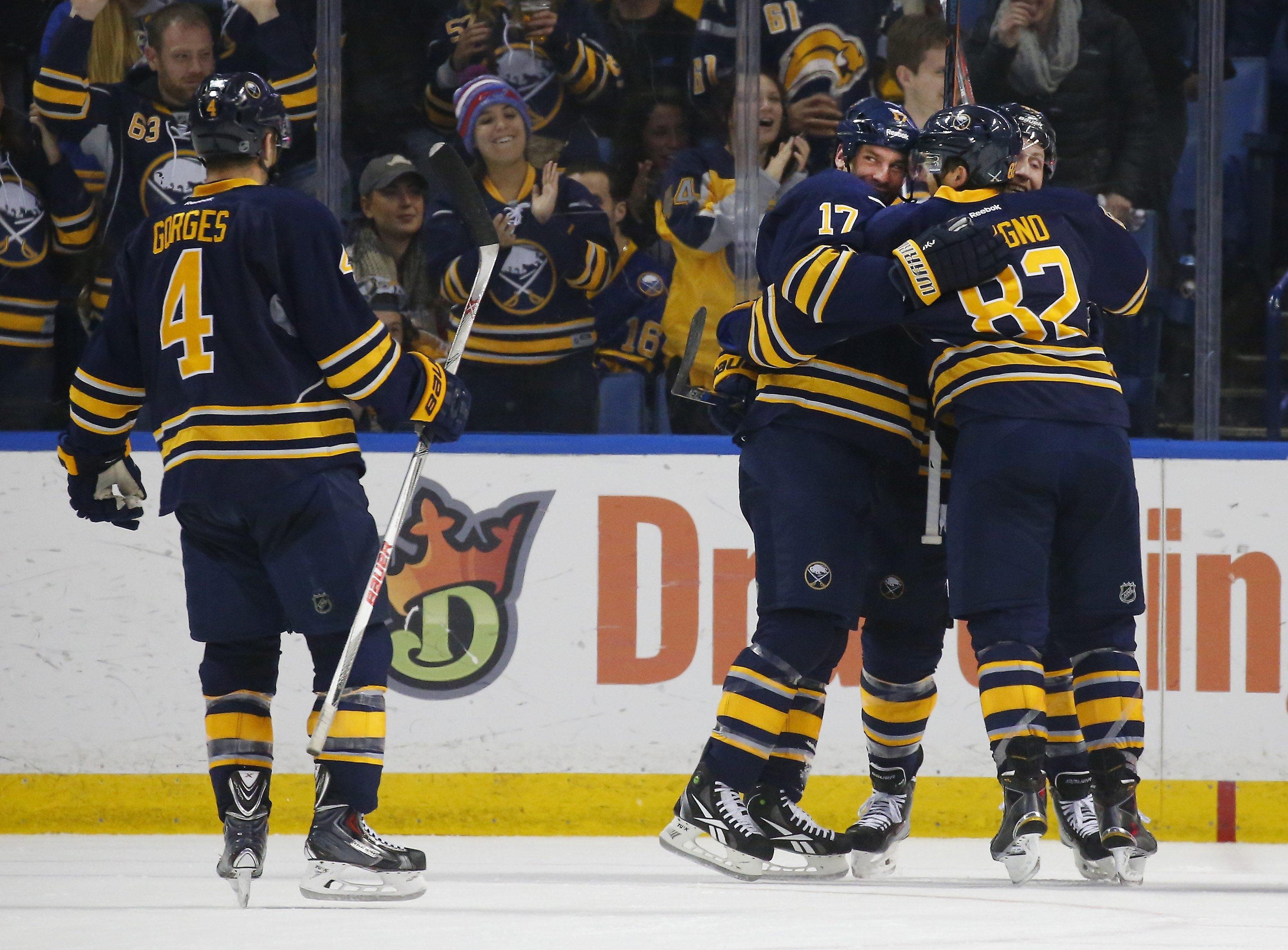 David Legwand celebrates his goal with his teammates in the second period, the Sabres' only goal of the game. (Mark Mulville/Buffalo News)