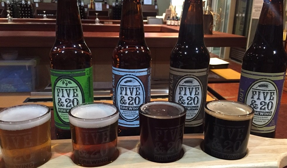 Four beers and a flight from Five & 20 Spirits and Brewing. (Kevin Wise/Special to The News)