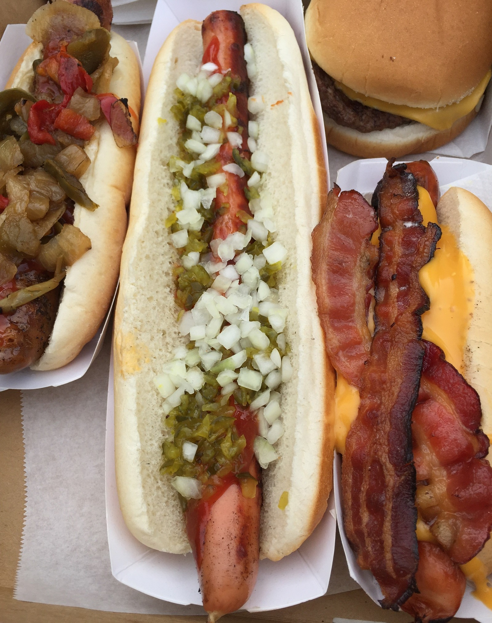 The footlong hot dog with ketchup, onions and relish. (Ben Tsujimoto/Buffalo News)