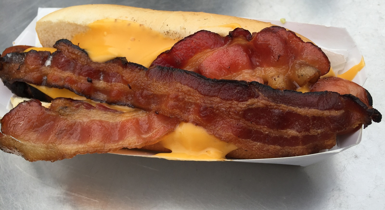 The bacon and cheese hot dog from Ted's Truck. (Ben Tsujimoto/Buffalo News file photo)