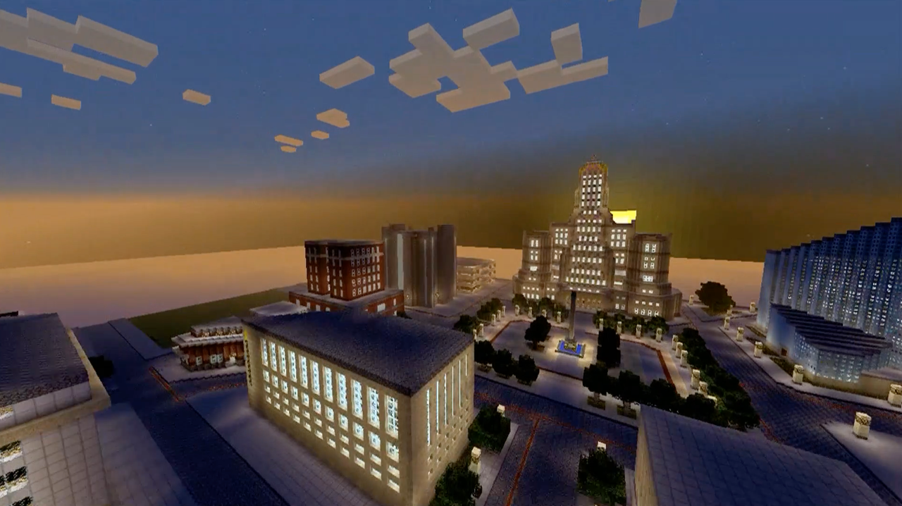 Mickey Harmon's 'Minecraft Buffalo' is part of 'Amid/In Western New York Part 5' in Hallwalls Contemporary Arts Center.