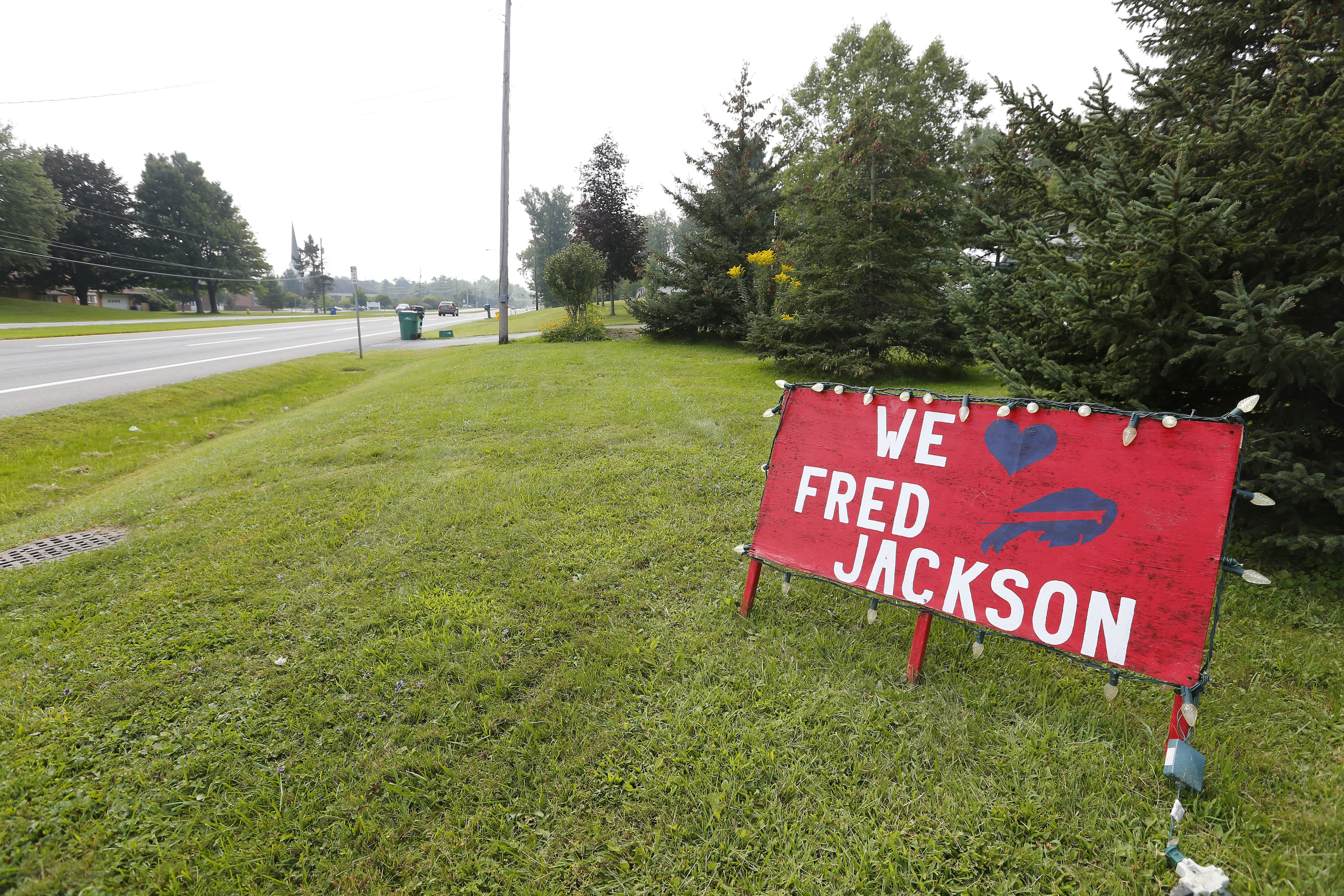 The Fred Jackson sign on Mckinley Pkwy in Hamburg Monday, August 31, 2015. (Mark Mulville/Buffalo News)