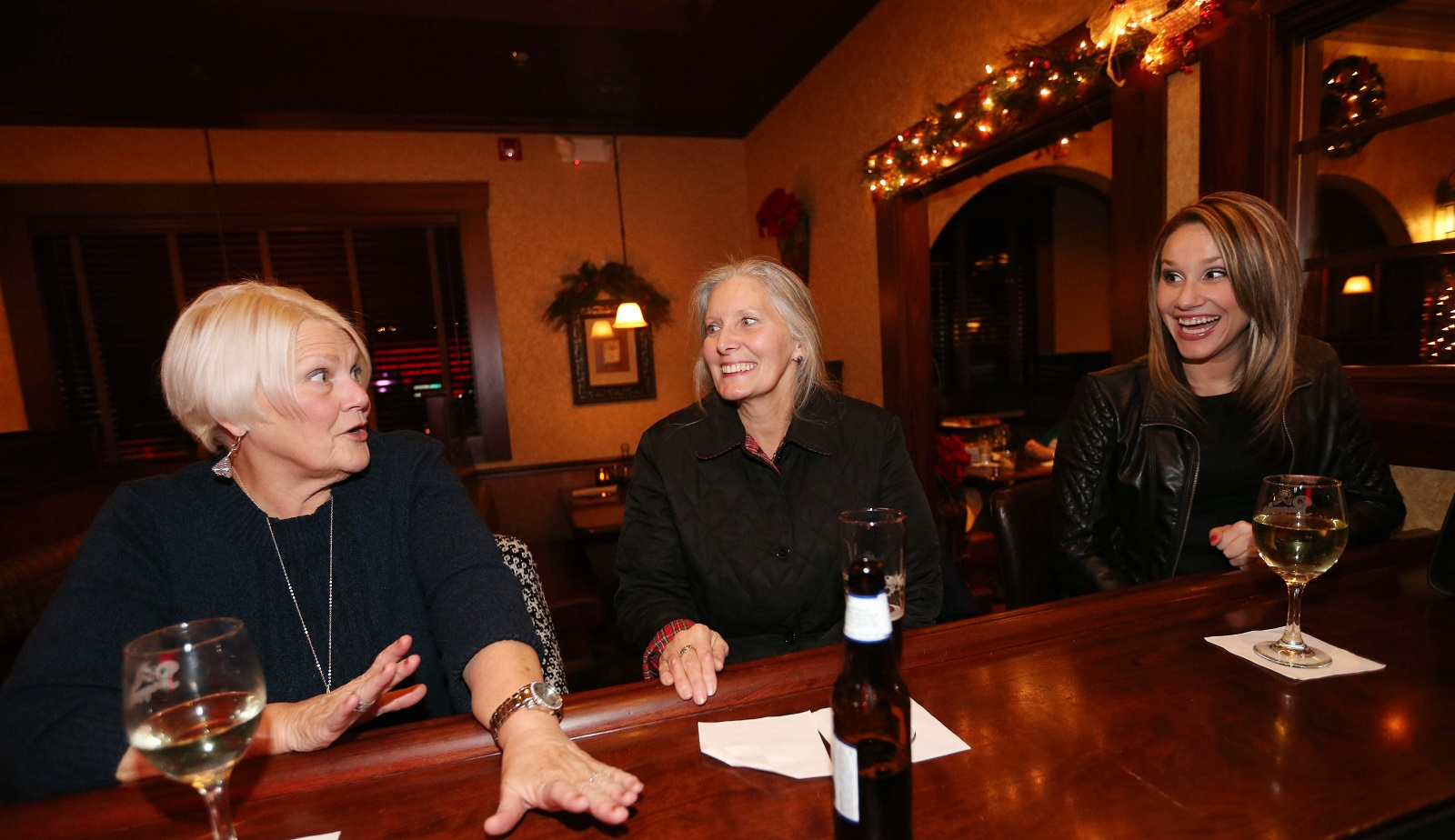 Pasquale's at 3720 Seneca St. in West Seneca has an intimate bar area.  Hanging out from left are Carol Roswell of Angola, Sandy Heltz of Hamburg and Darcy Mirowski, of Angola.  The three have gotten together there every Thursday for the past five years. (Sharon Cantillon/Buffalo News)
