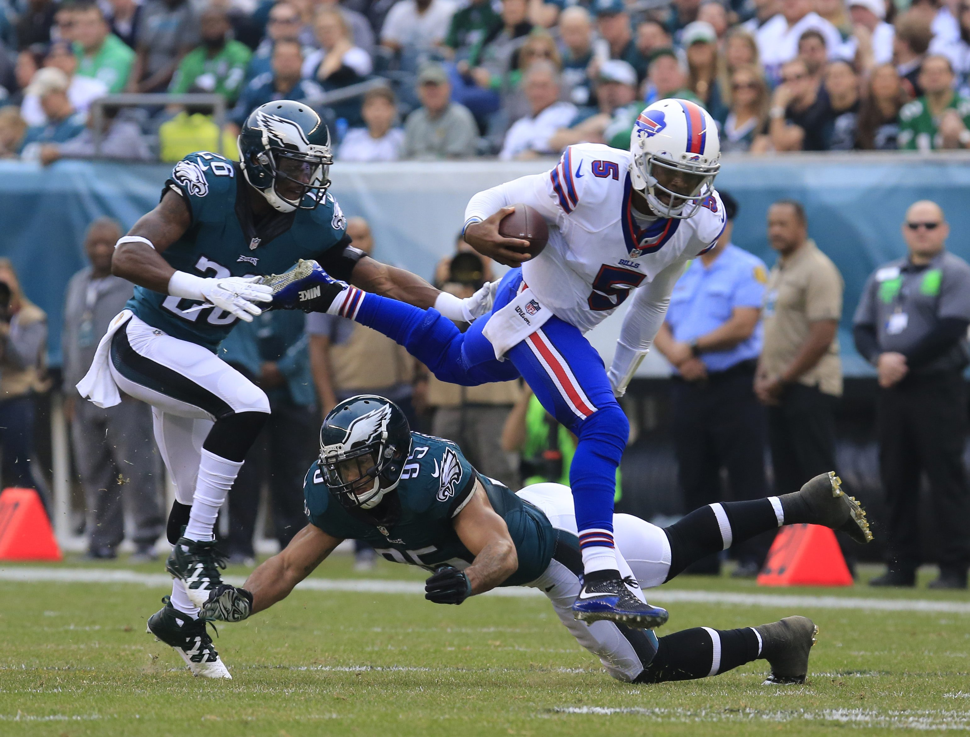 Tyrod Taylor and the Buffalo Bills absorbed a major blow to their playoff hopes in Philadelphia. (Harry Scull Jr./Buffalo News)