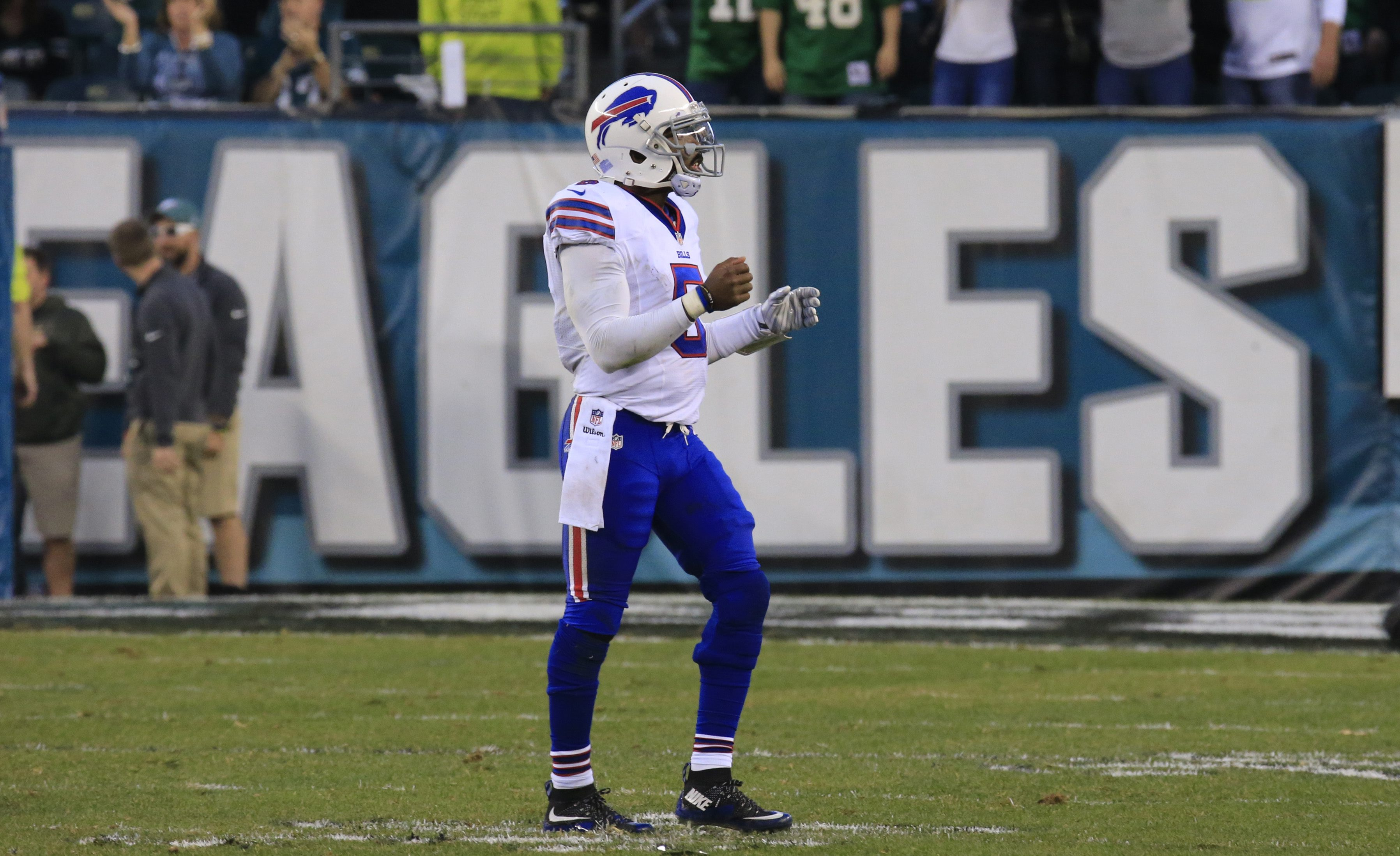 Tyrod Taylor walks off the field after throwing a late fourth-quarter interception against the Philadelphia Eagles.  (Harry Scull Jr./Buffalo News)