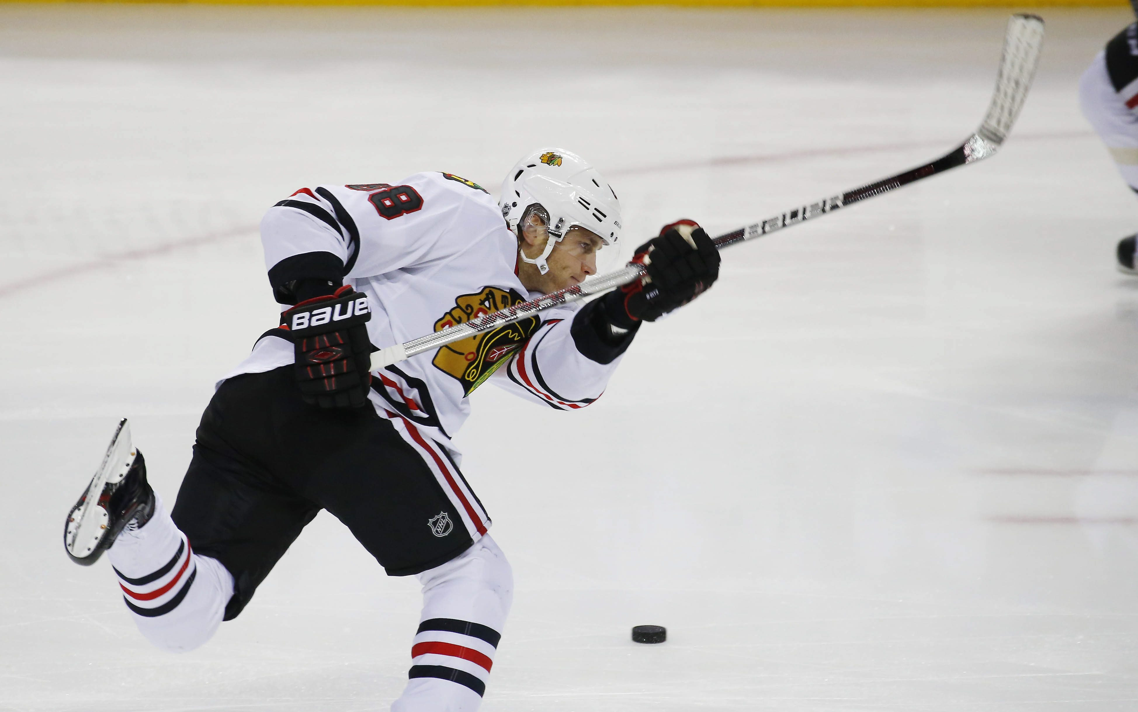 Chicago Blackhawks forward Patrick Kane fires a shot in the pre game skate at First Niagara Center in Buffalo on Dec. 19. (Mark Mulville/Buffalo News)