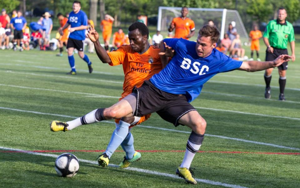 Kyle Rogers, right, was a standout during BSC's 1-0 win over IASC. (Brandon Chiarmonte/Buffalo Soccer Council)