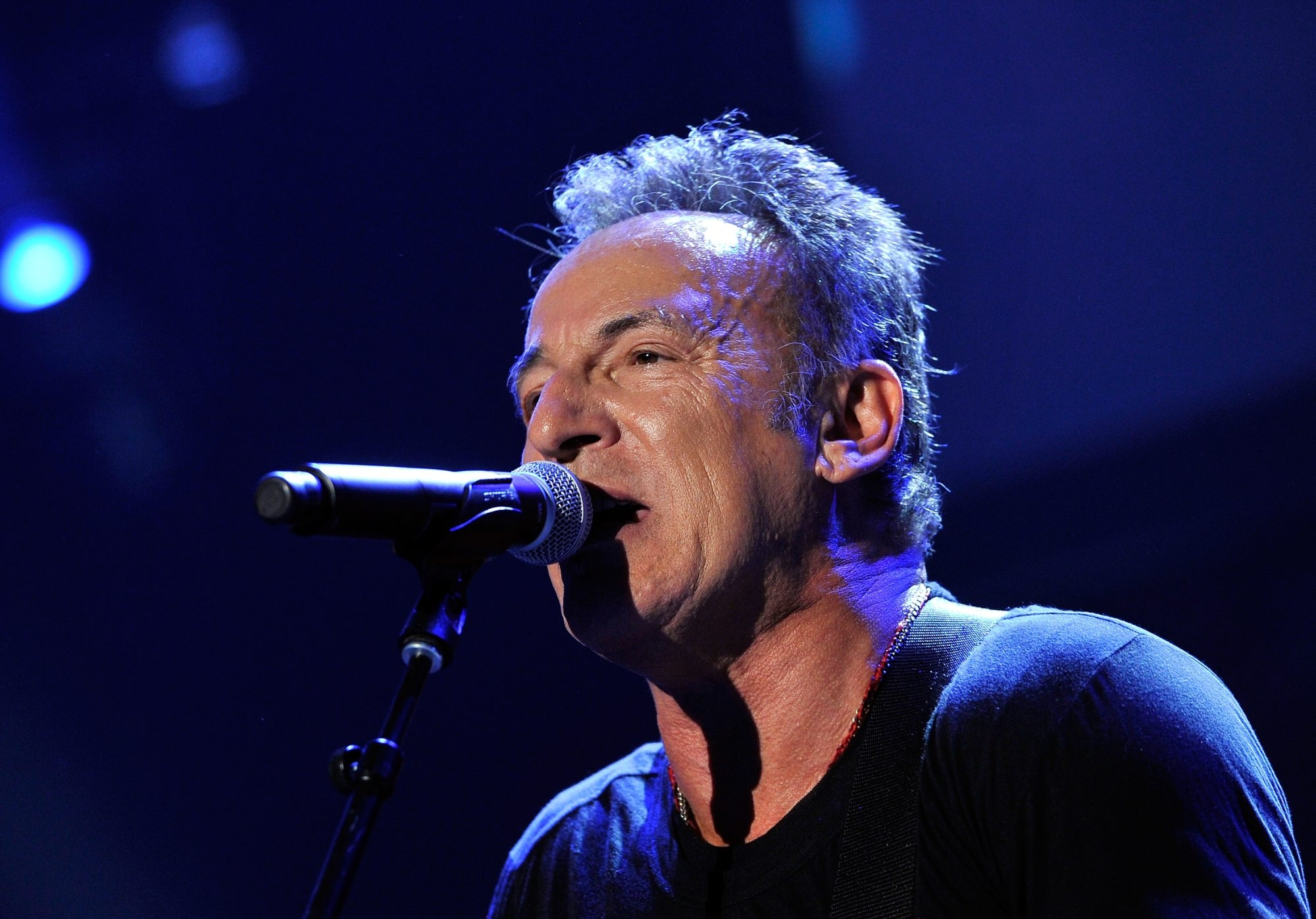LOS ANGELES, CA - FEBRUARY 08:  Musician Bruce Springsteen performs onstage at MusiCares Person Of The Year Honoring Bruce Springsteen on February 8, 2013 in Los Angeles, California.  (Photo by Larry Busacca/Getty Images for NARAS)