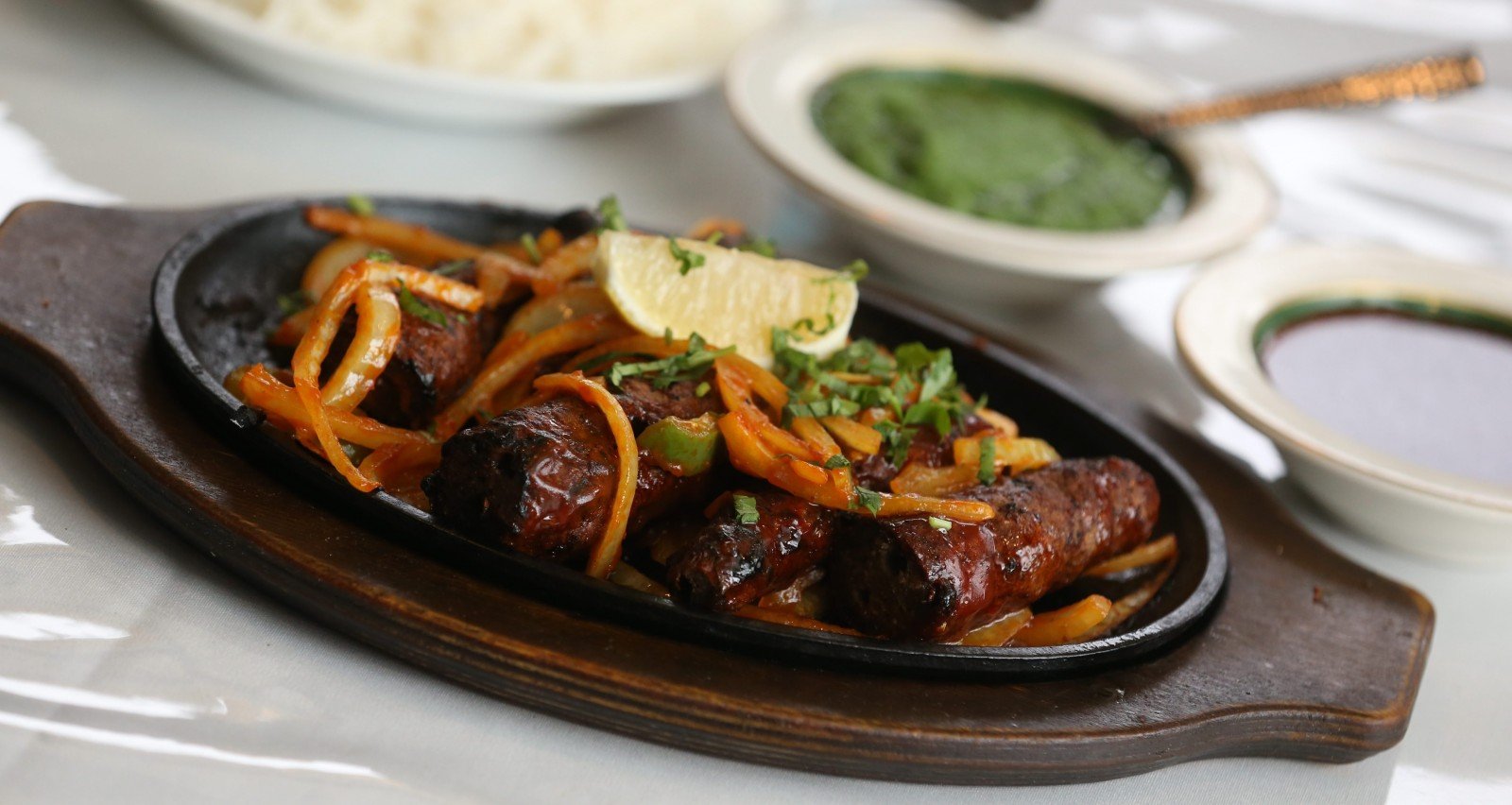Ground lamb prepared with ginger, garlic and herbs from New Jewel of India. (Sharon Cantillon/Buffalo News)