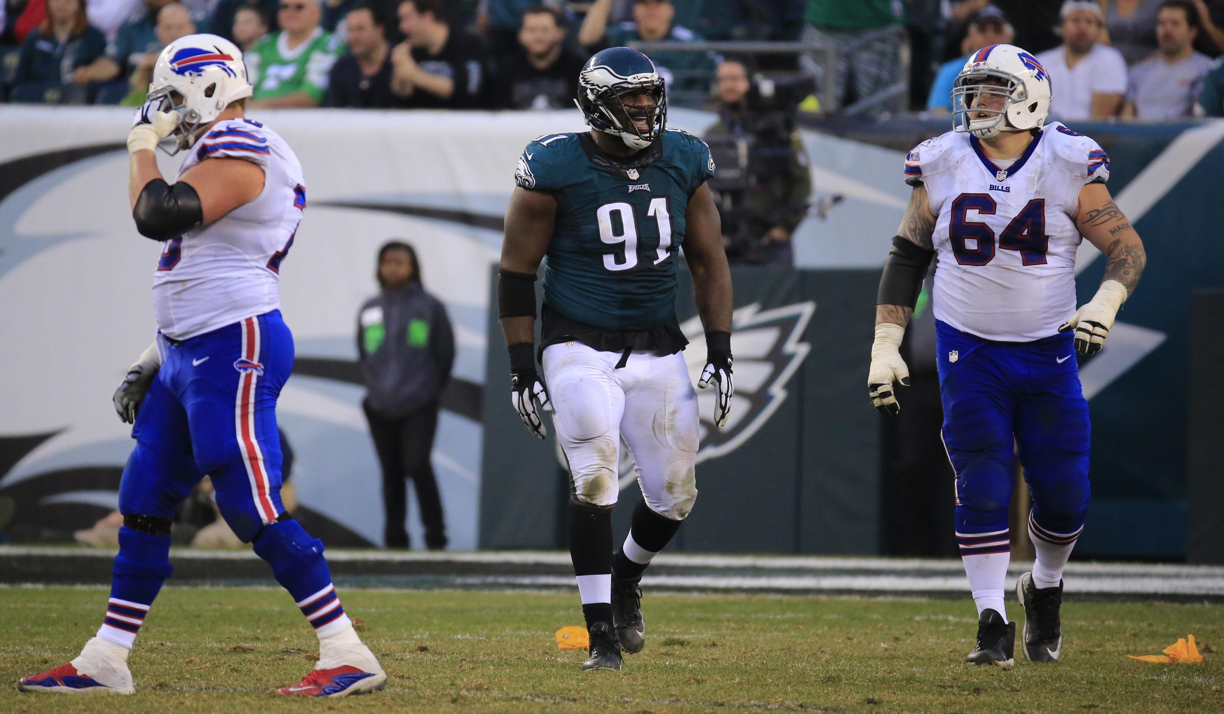 """Bills offensive guard Richie Incognito said Eagles defensive tackle Fletcher Cox, left, """"ate my lunch today. ... He got me early and often."""""""