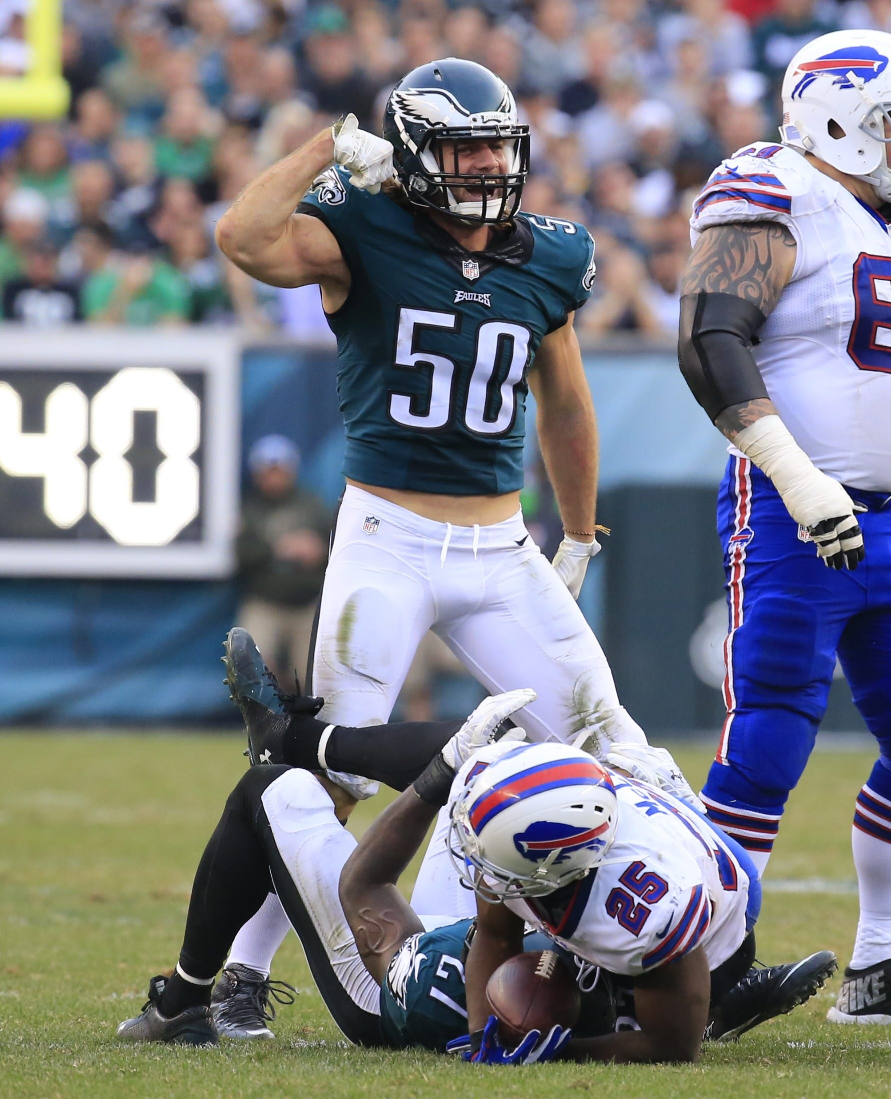 Kiko Alonso of the Eagles flexes a muscle or two after LeSean McCoy was tackled in the second half of Sunday's 23-20 loss in Philadelphia.