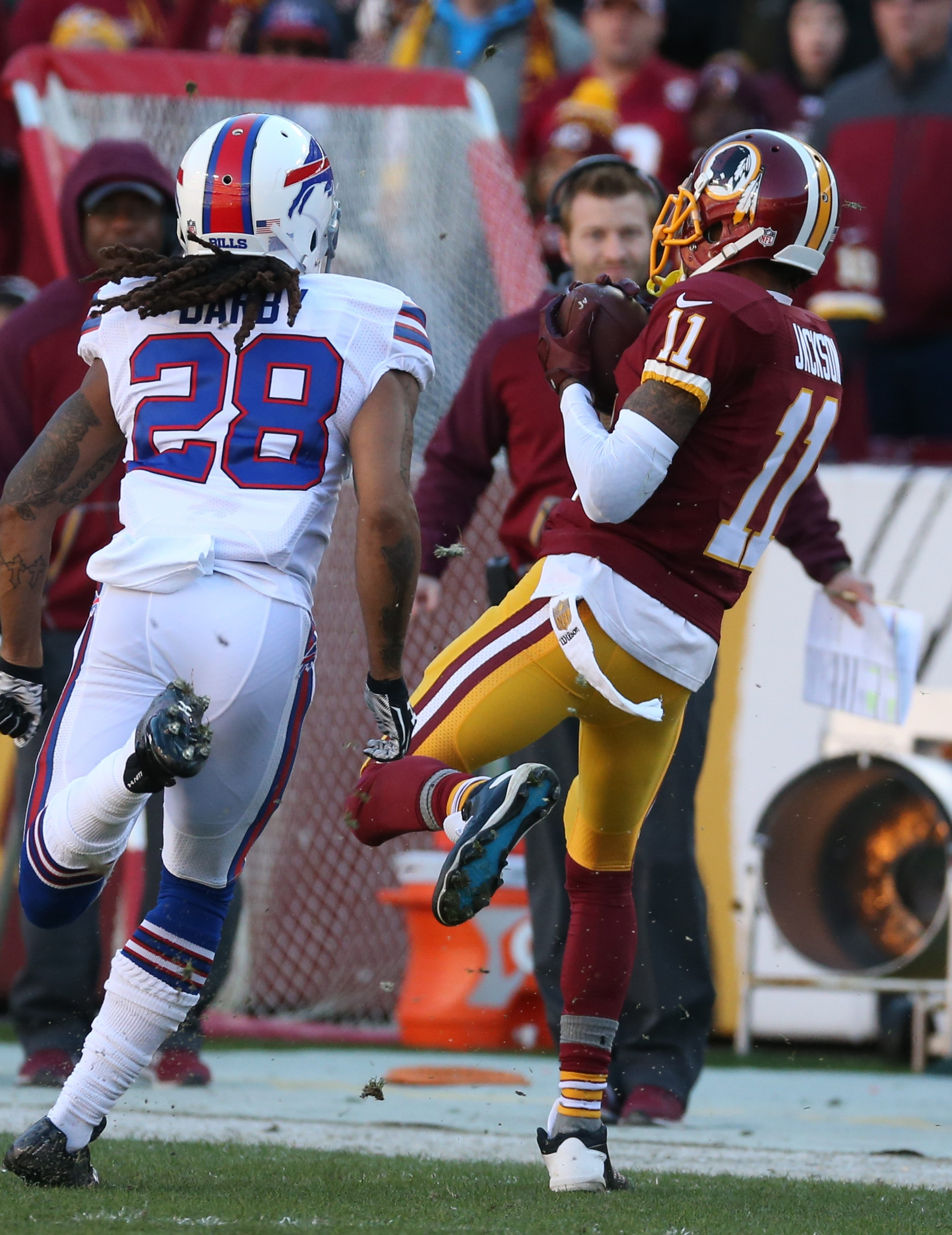 Redskins wide receiver DeSean Jackson beats Bills cornerback Ronald Darby for a first down in the first quarter.