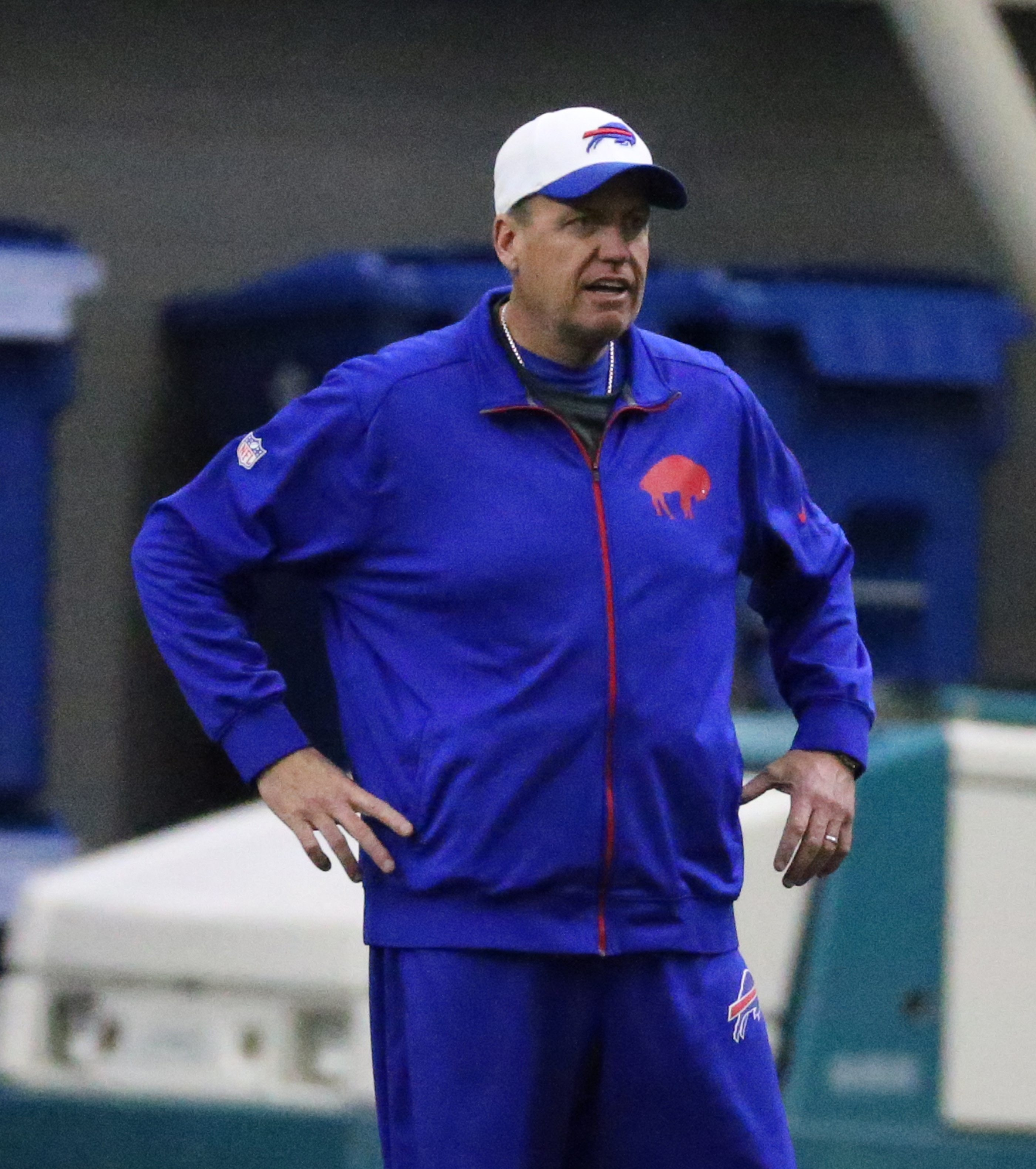 Buffalo Bills head coach Rex Ryan checks out his team during practice at Ralph Wilson Field House in Orchard Park on Wednesday.