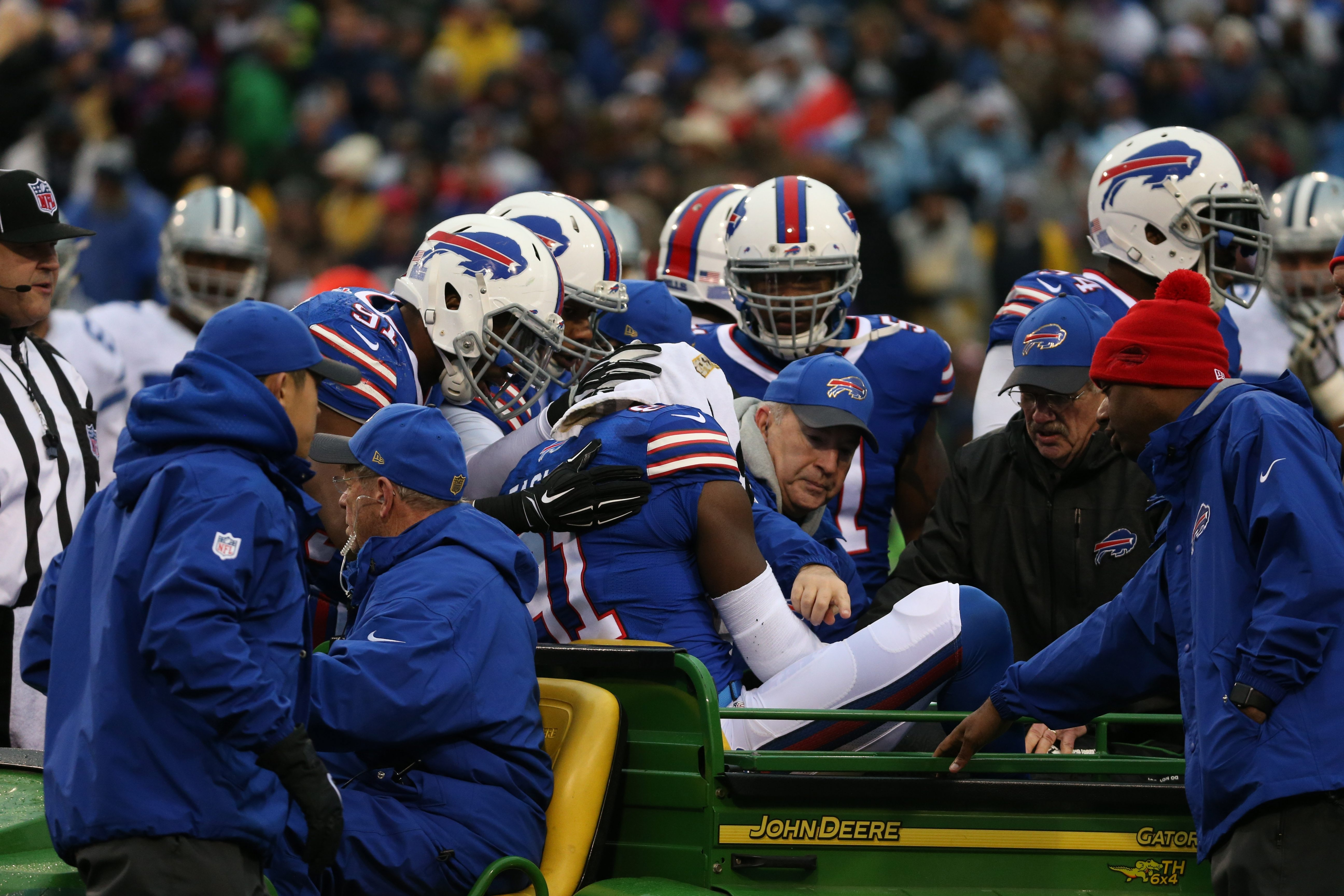 Bills wide receiver and special teams man Marcus Easley is carted off the field after suffering a serious knee injury in Sunday's game against Dallas.