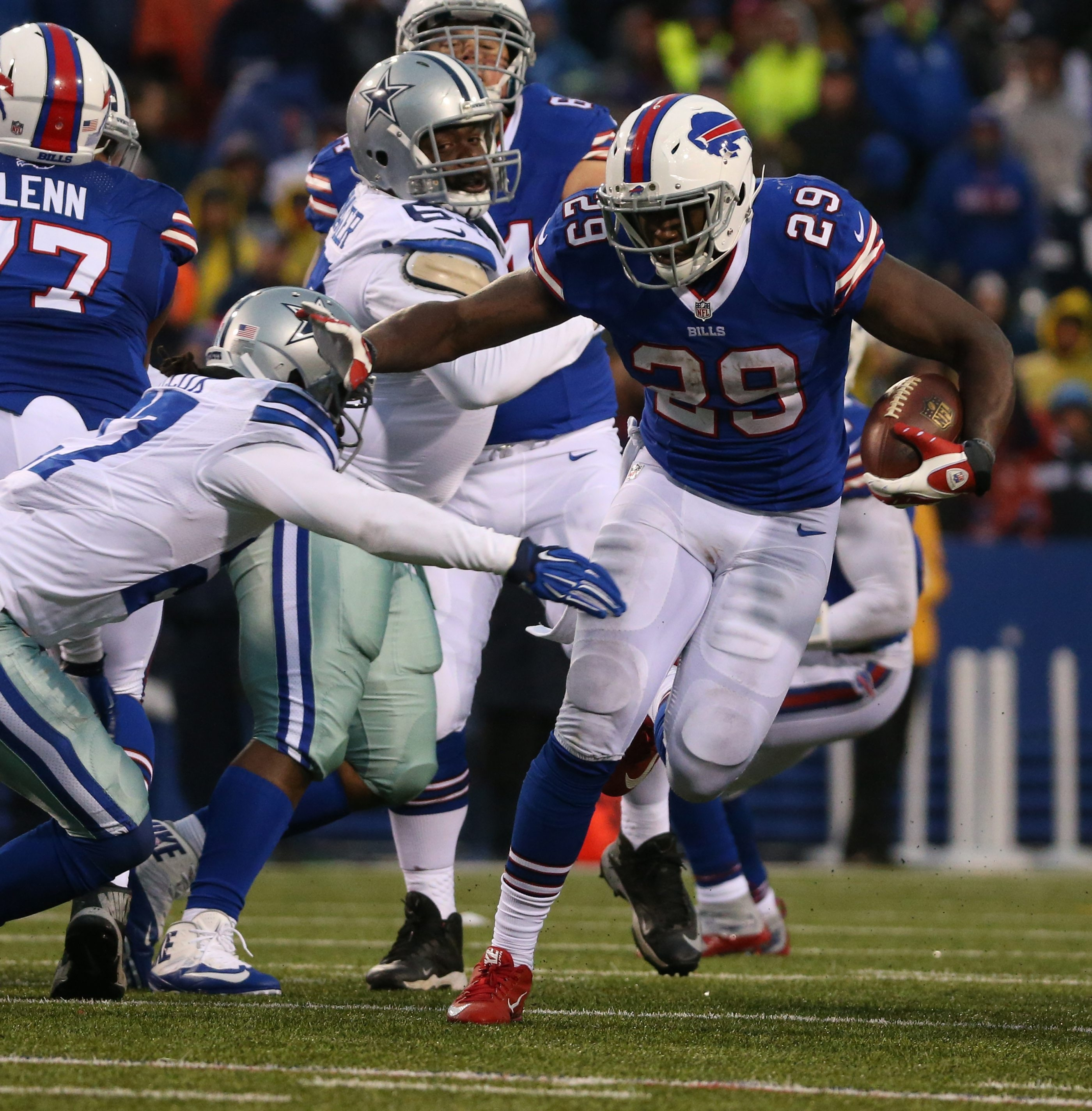 Buffalo Bills running back Karlos Williams (29) rushes for a first down in the fourth quarter at Ralph Wilson Stadium in Orchard Park, NY on Sunday, Dec. 27, 2015.  (James P. McCoy/ Buffalo News)