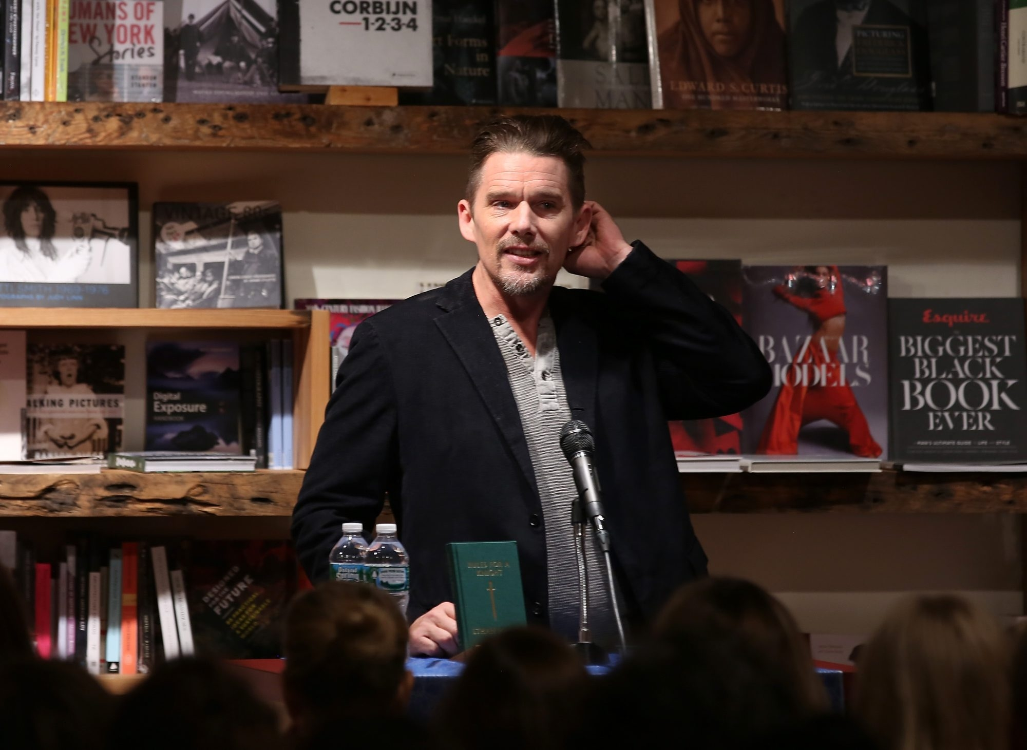 "Actor/author Ethan Hawke reads from his new book ""Rules For A Knight"" at a signing for ""Rules For A Knight"" in New York City."
