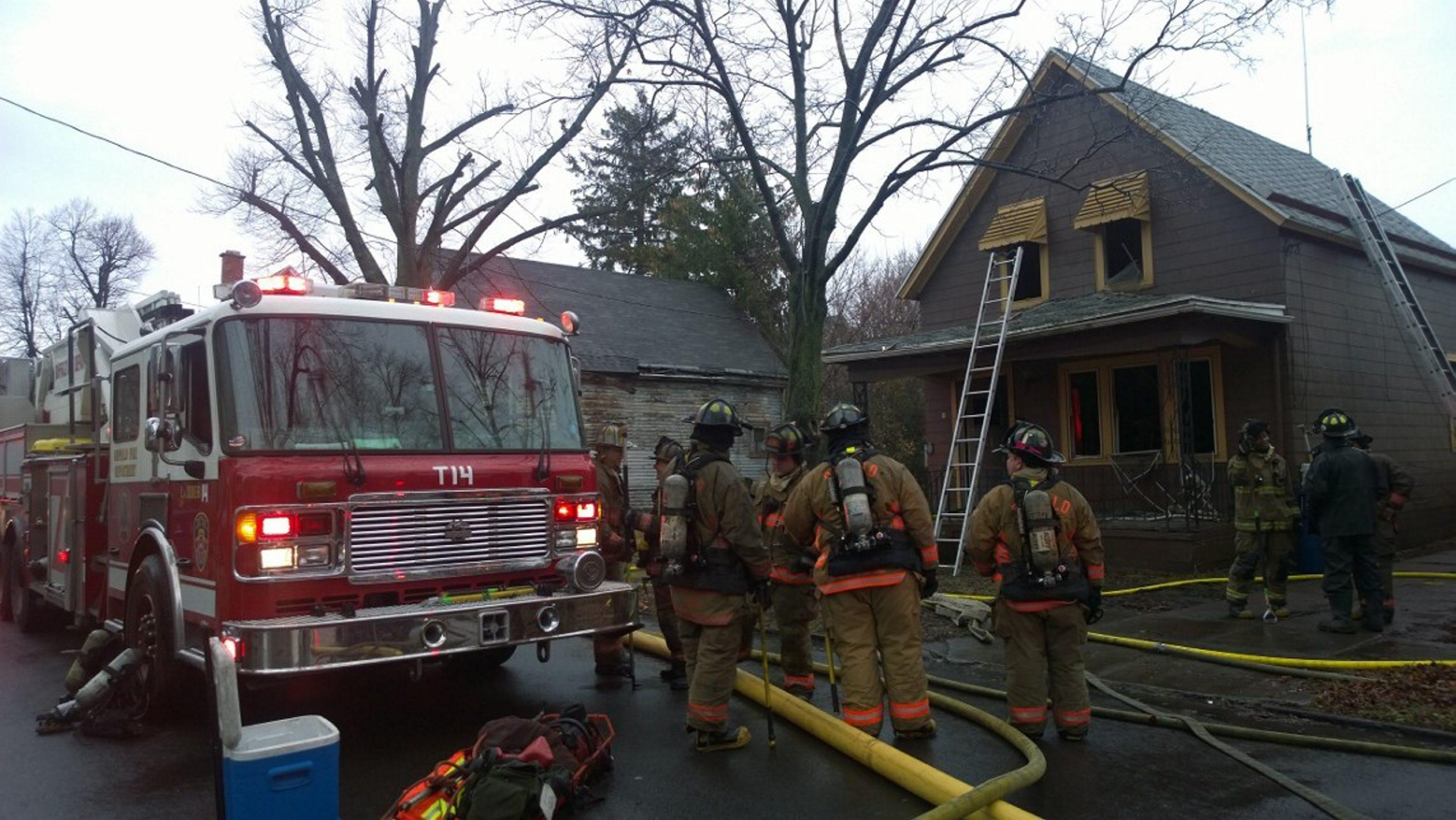 Firefighters at the scene of Tuesday's blaze on Keystone Street. (David Kazmierczak/Special to The News)