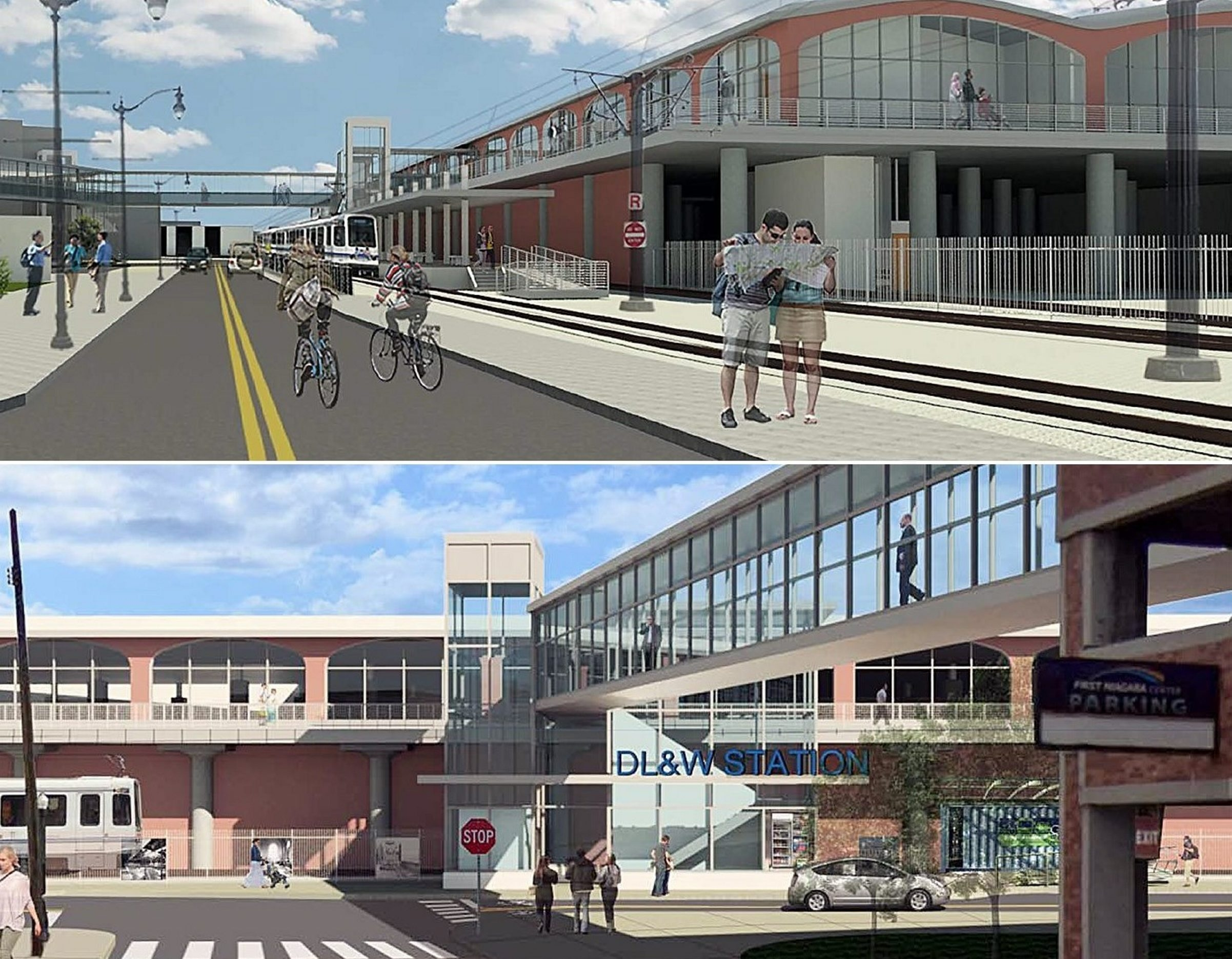 Renderings of two options considered by the NFTA include Alternative A/South Park and B/Buffalo River.