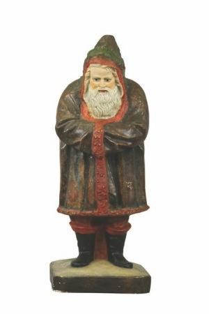 This Belsnickle, the old man now remodeled into the modern Santa Claus, was made in the late 1800s of molded plaster, or as experts say, chalkware. The 22 inch-high figure sold for $18,400.