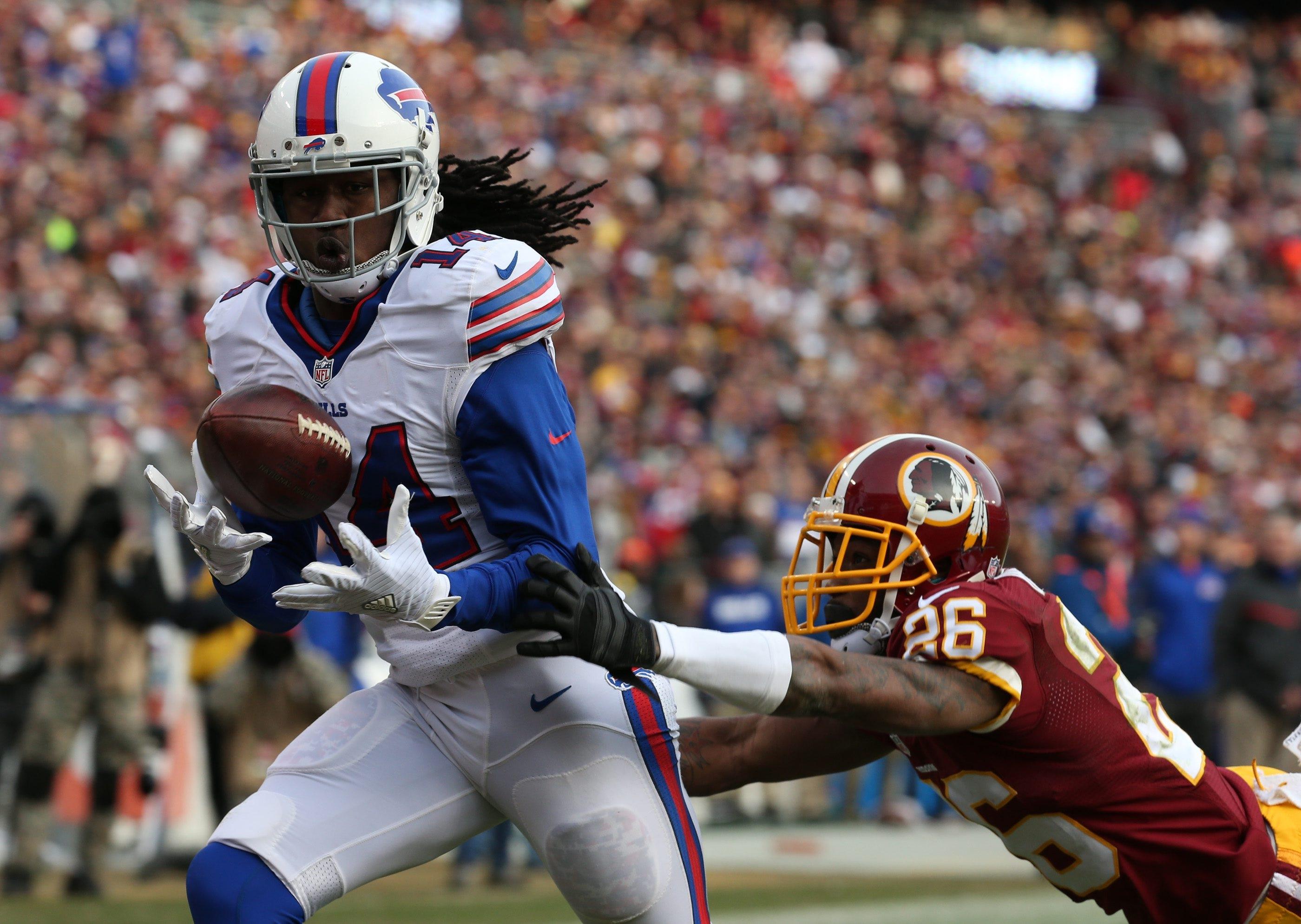 Bills wide receiver Sammy Watkins beats Redskins cornerback Bashaud Breeland for a 48-yard touchdown in the third quarter.
