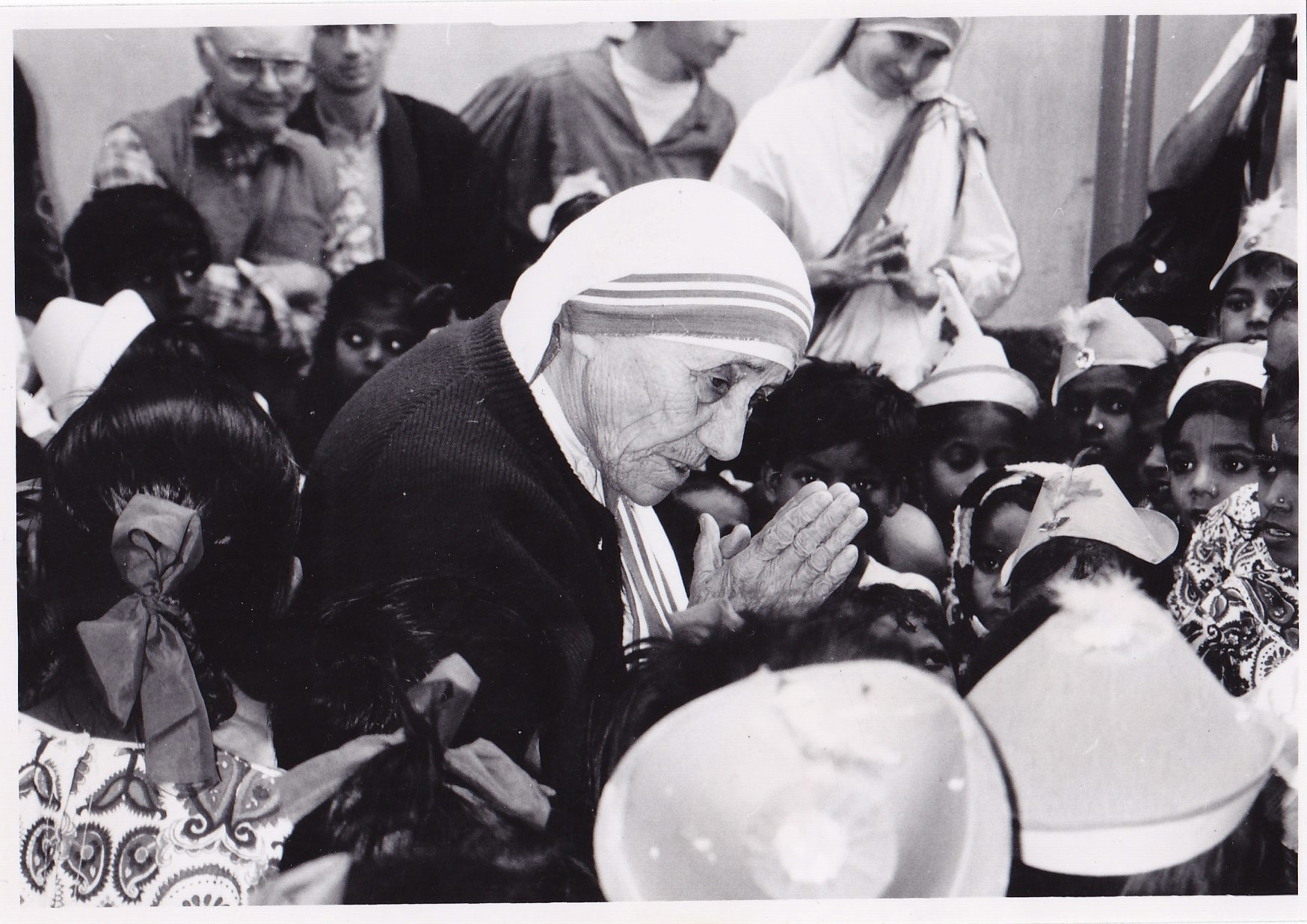 The B&W photo of The Mother that includes the author in the upper left corner. Mother Teresa