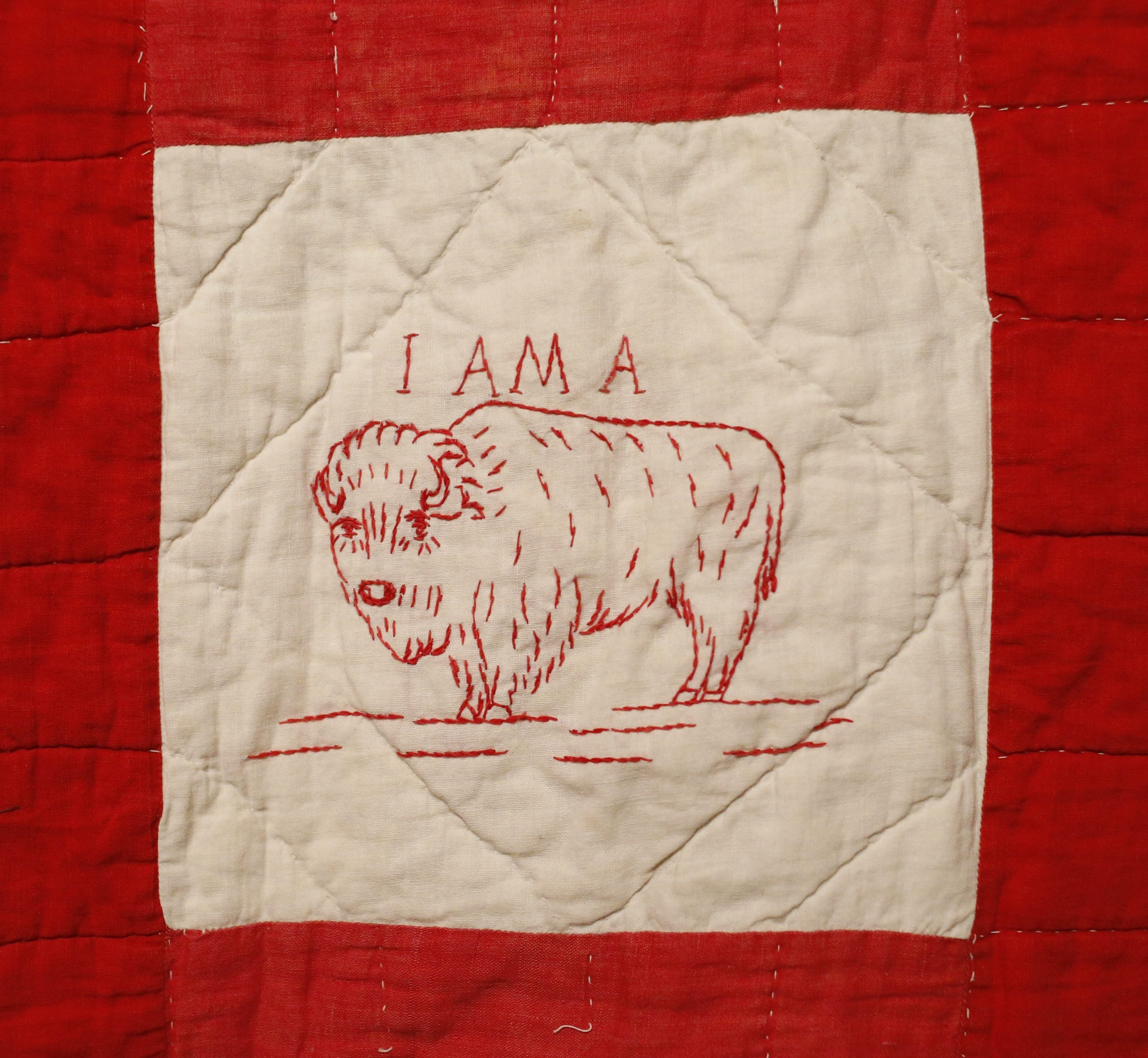 A quilt commemorating the 1901 Pan-American Exposition features this hand-stitched buffalo.