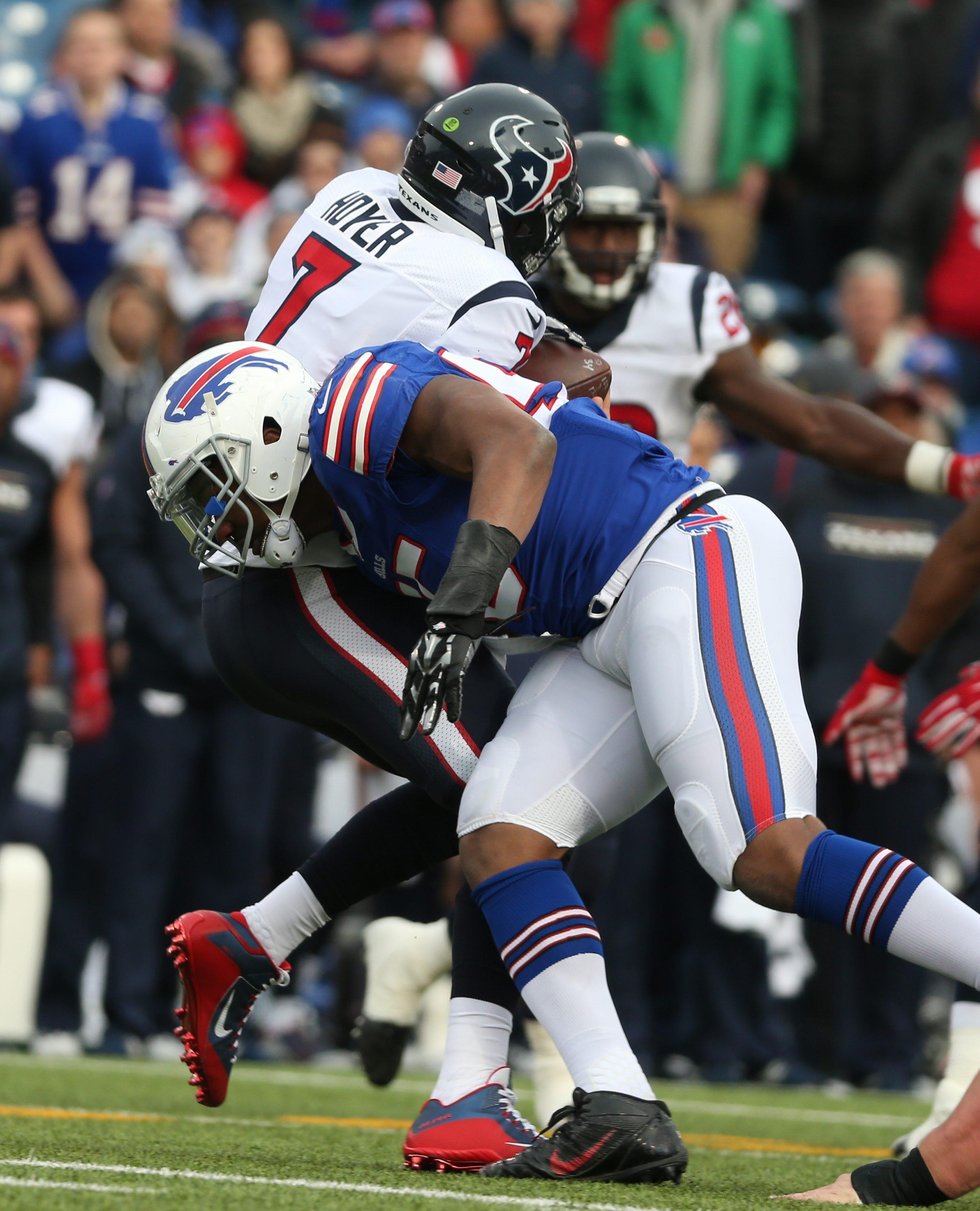 Bills defensive end Jerry Hughes didn't jump the gun when he sacked Texans quarterback Brian Hoyer during Buffalo's win on Dec. 6.