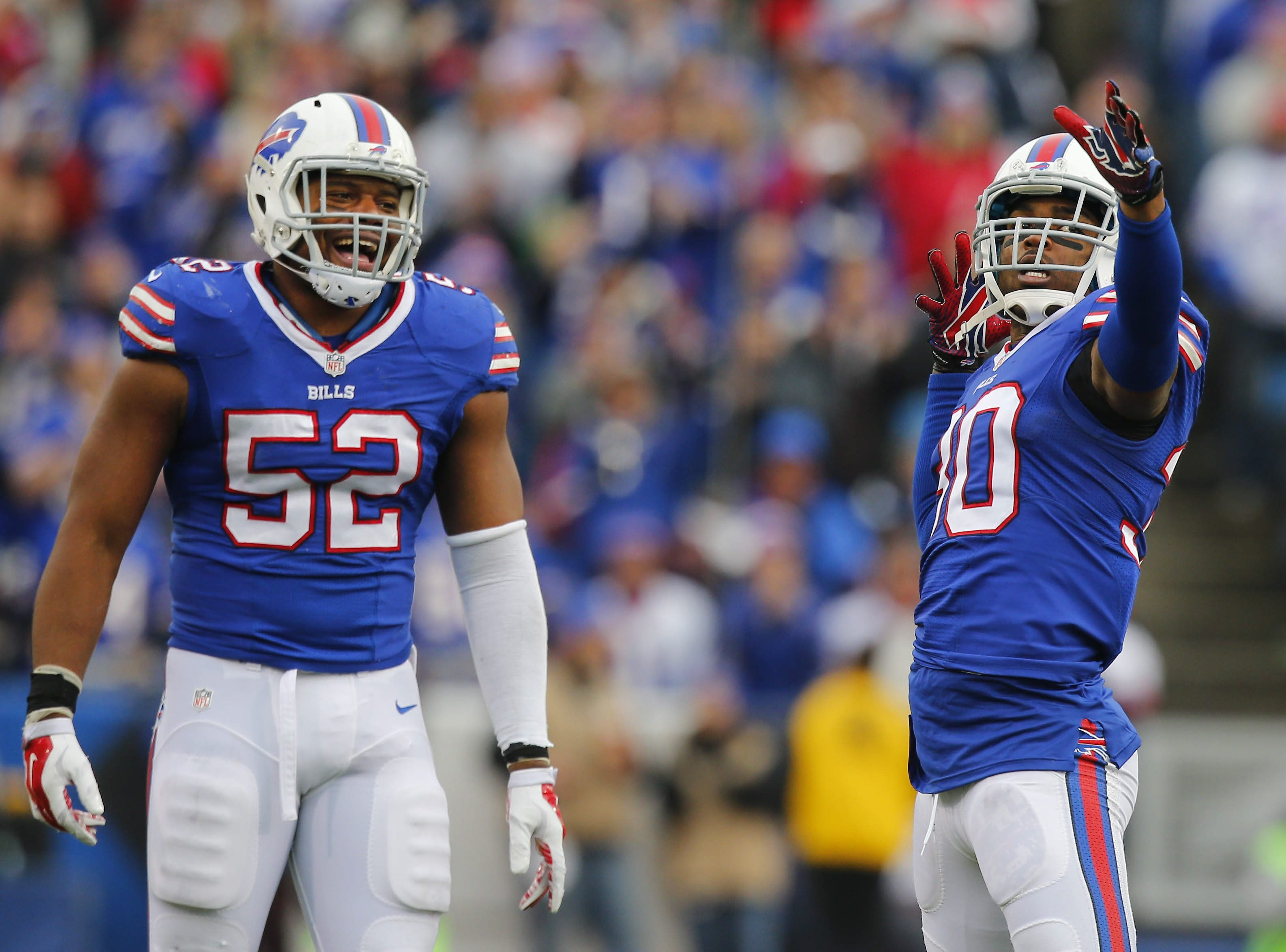 Buffalo Bills' Bacarri Rambo celebrates his sack with teammate Preston Brown in the third quarter at Ralph Wilson Stadium in Orchard Park, Sunday, Dec. 6, 2015.  (Mark Mulville/Buffalo News)