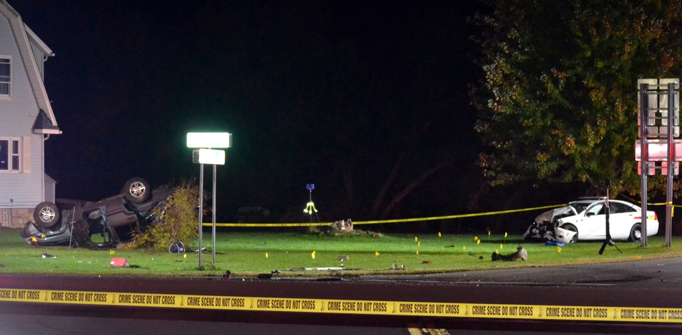 The scene of the fatal accident at Ridge and Plank Roads in Cambria on Oct. 22. (Larry Kensinger/Special to The News)