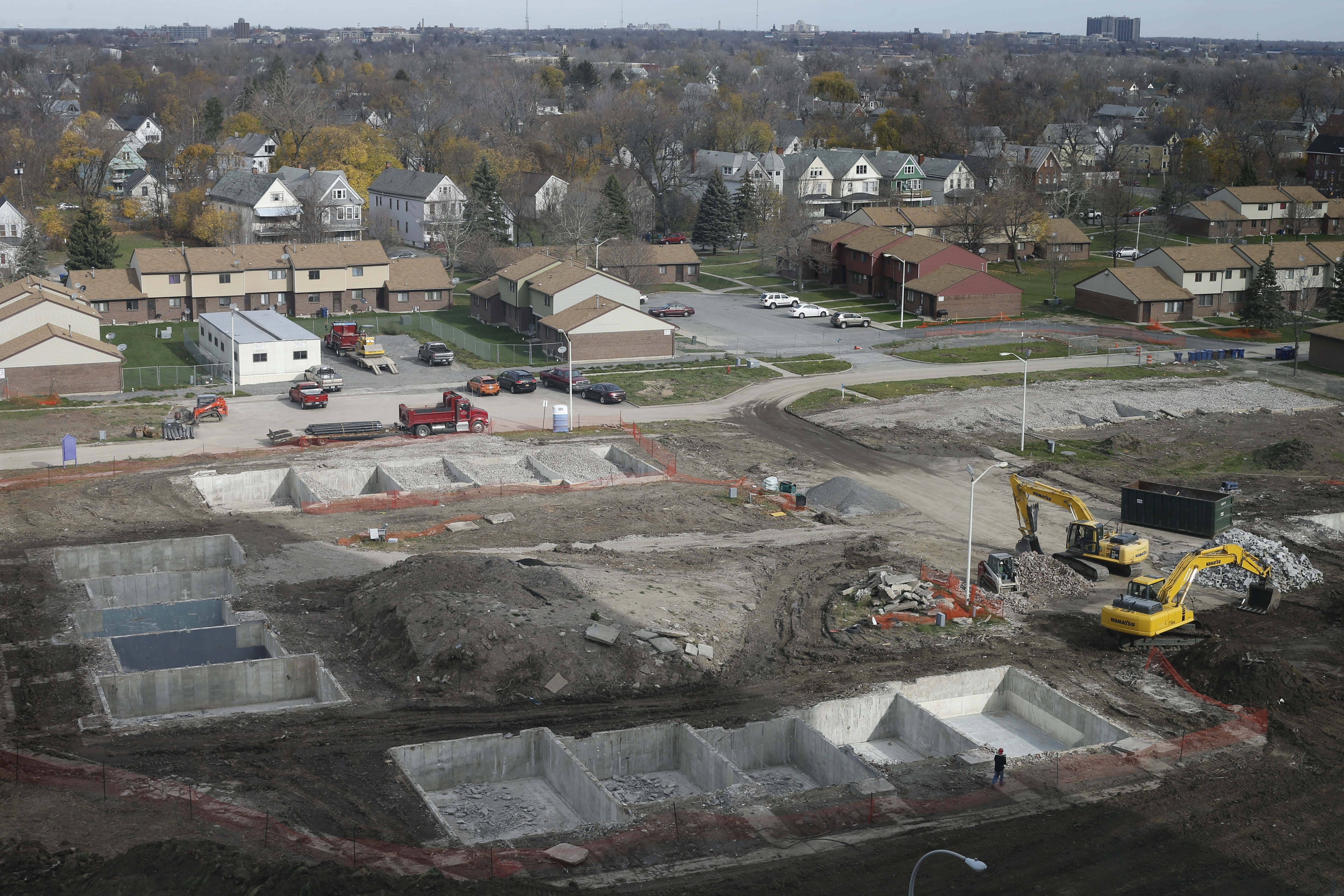 Demolition of the former Pilgrim Village housing complex is the first phase of the development project on the Buffalo Niagara Medical Campus. The project will add low-income and market-rate housing, along with new commercial space, to the neighborhood.