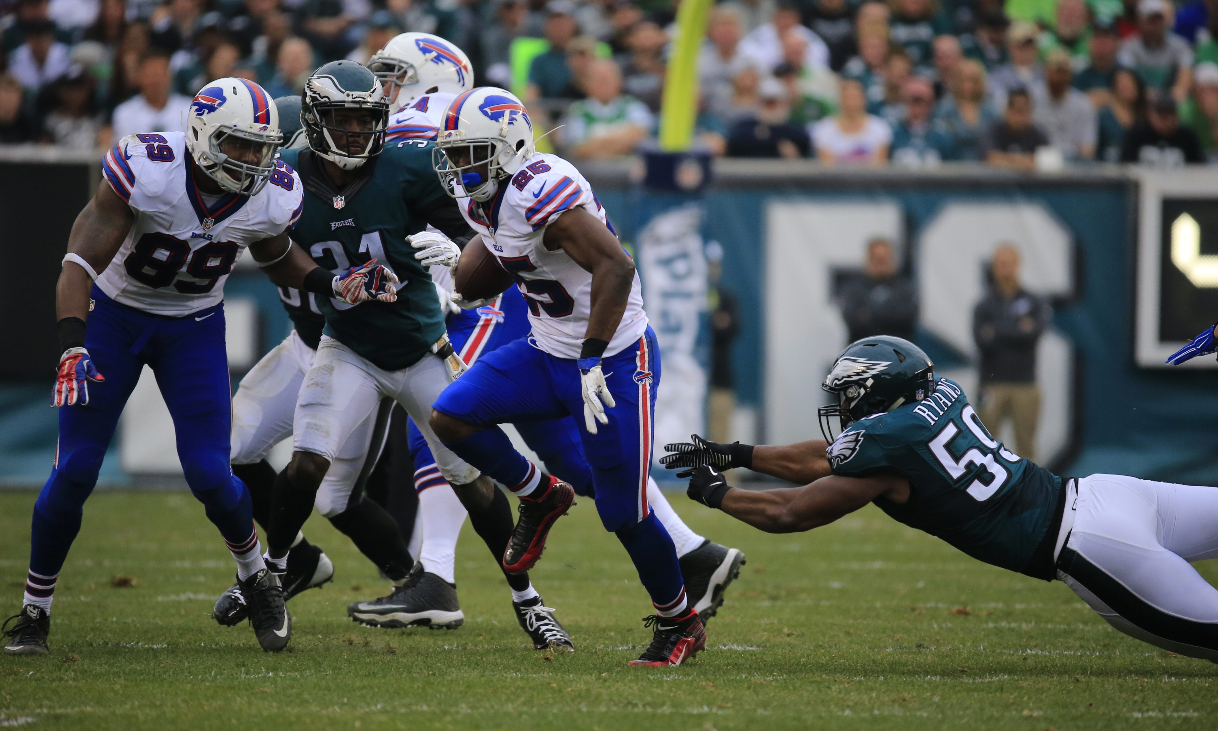 Bills running back LeSean McCoy rushed 20 times against his former teammates but gained just 74 yards. He also caught four passes for 35 yards as the Eagles kept him in check.