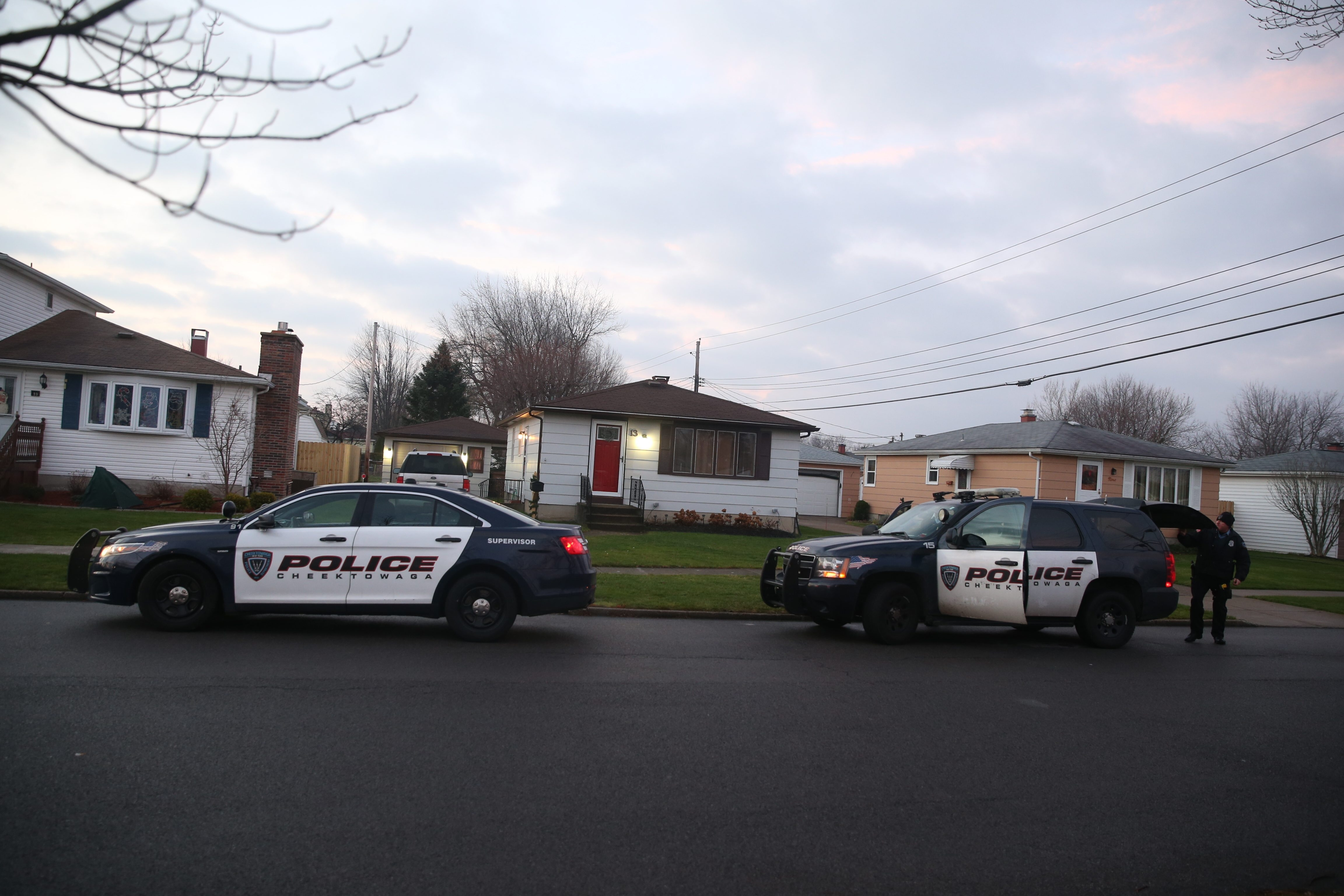 Cheektowaga police investigate Thursday at 13 Florette Drive W., where a man told police that he confronted four males in his driveway early that morning. He said one attacked him with a bat.