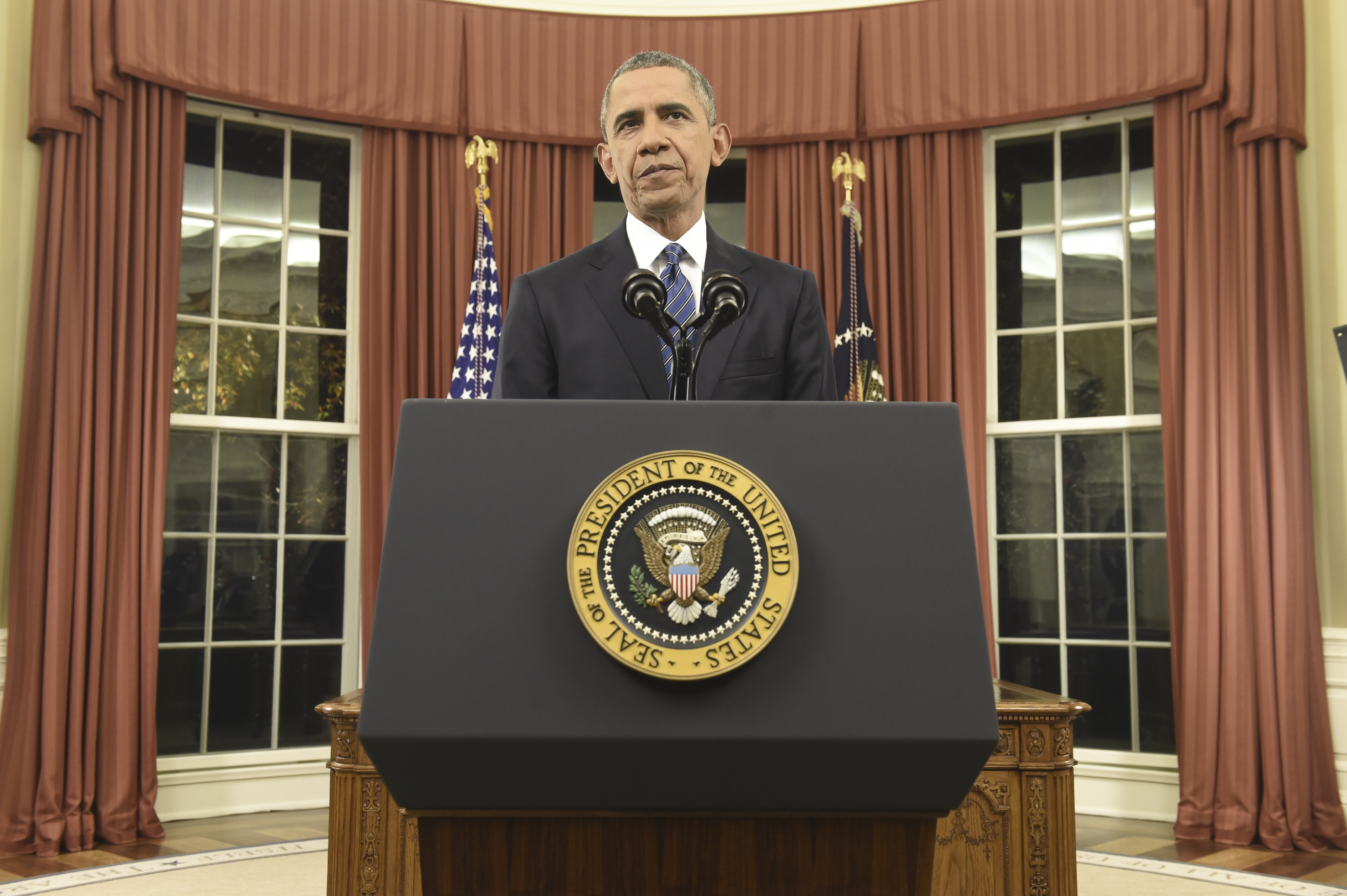 President Obama delivers an address on terrorism in the Oval Office of the White House in Washington, Sunday night.