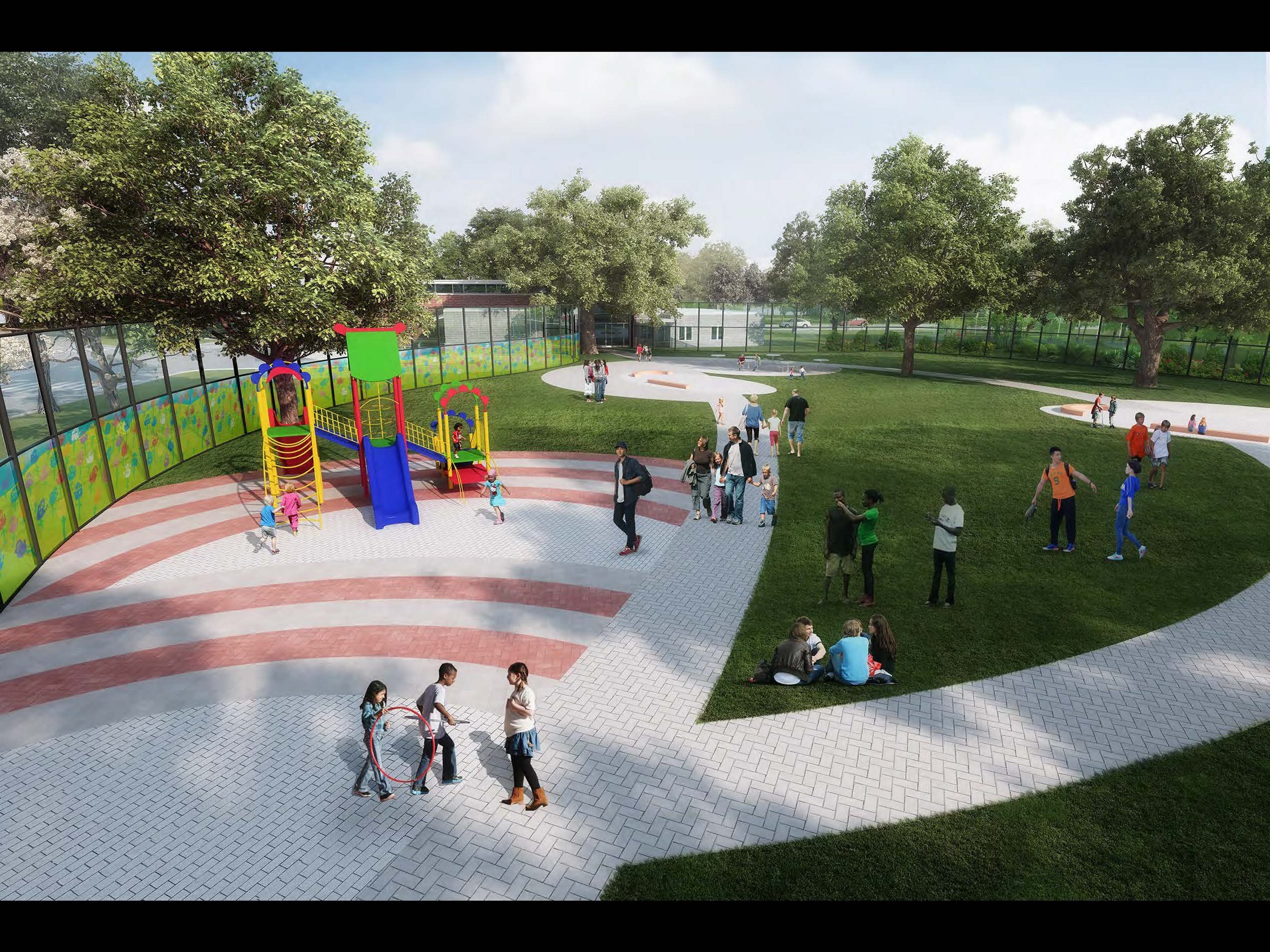 Artist's rendering shows the secure outdoor recreation area to be created when the Western New York Children's Psychiatric Center moves to the Buffalo Psychiatric Center campus.